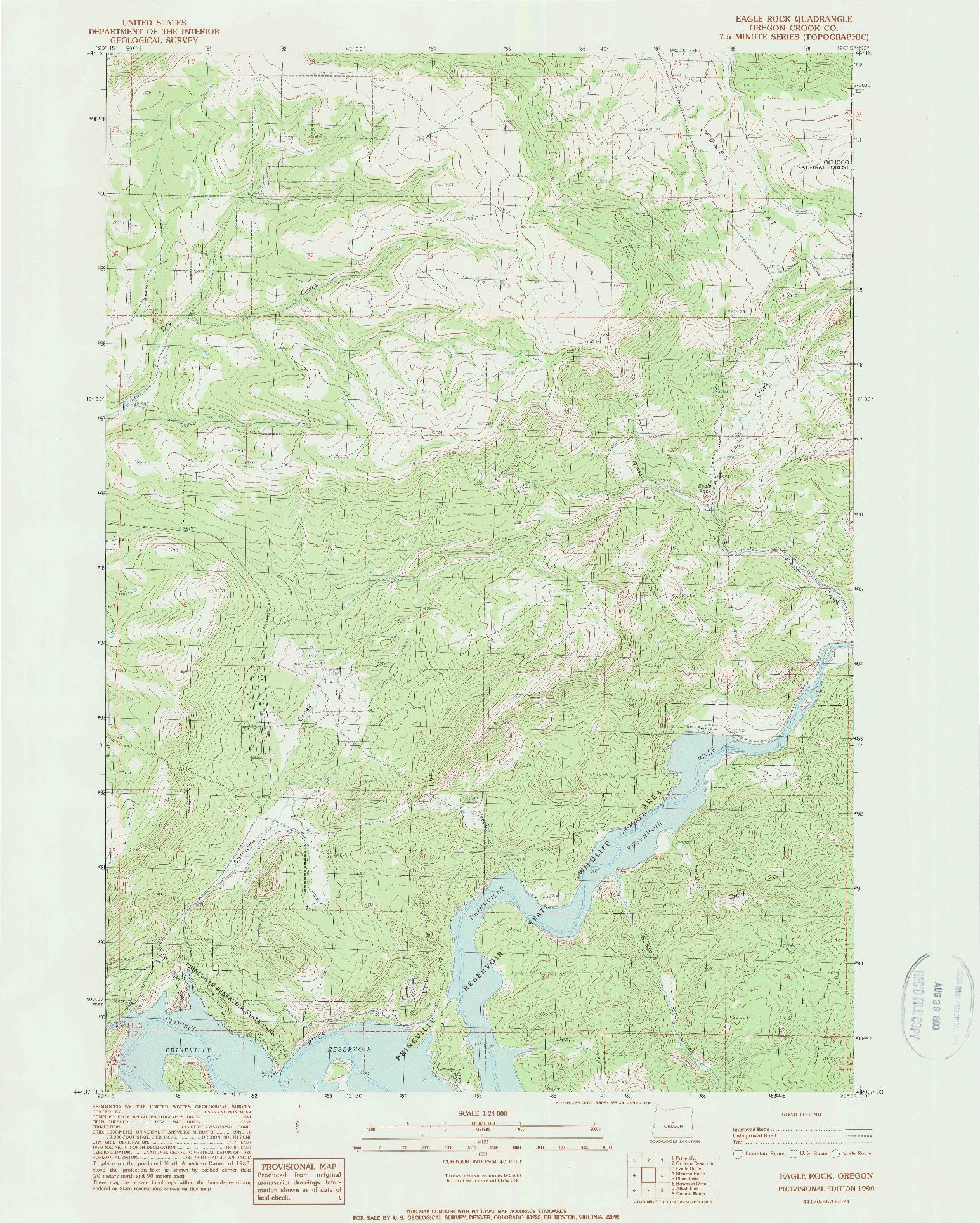 USGS 1:24000-SCALE QUADRANGLE FOR EAGLE ROCK, OR 1990
