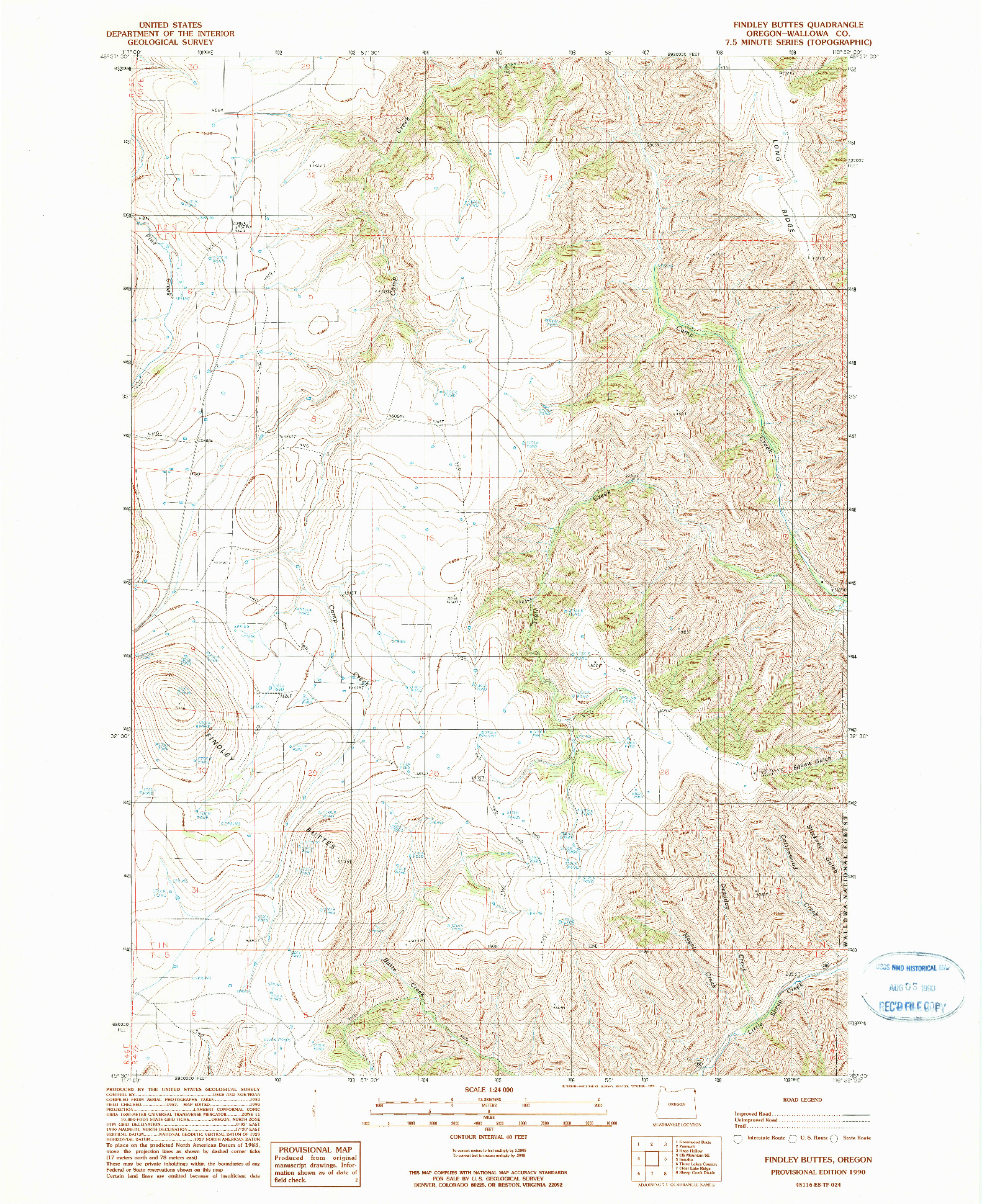 USGS 1:24000-SCALE QUADRANGLE FOR FINDLEY BUTTES, OR 1990