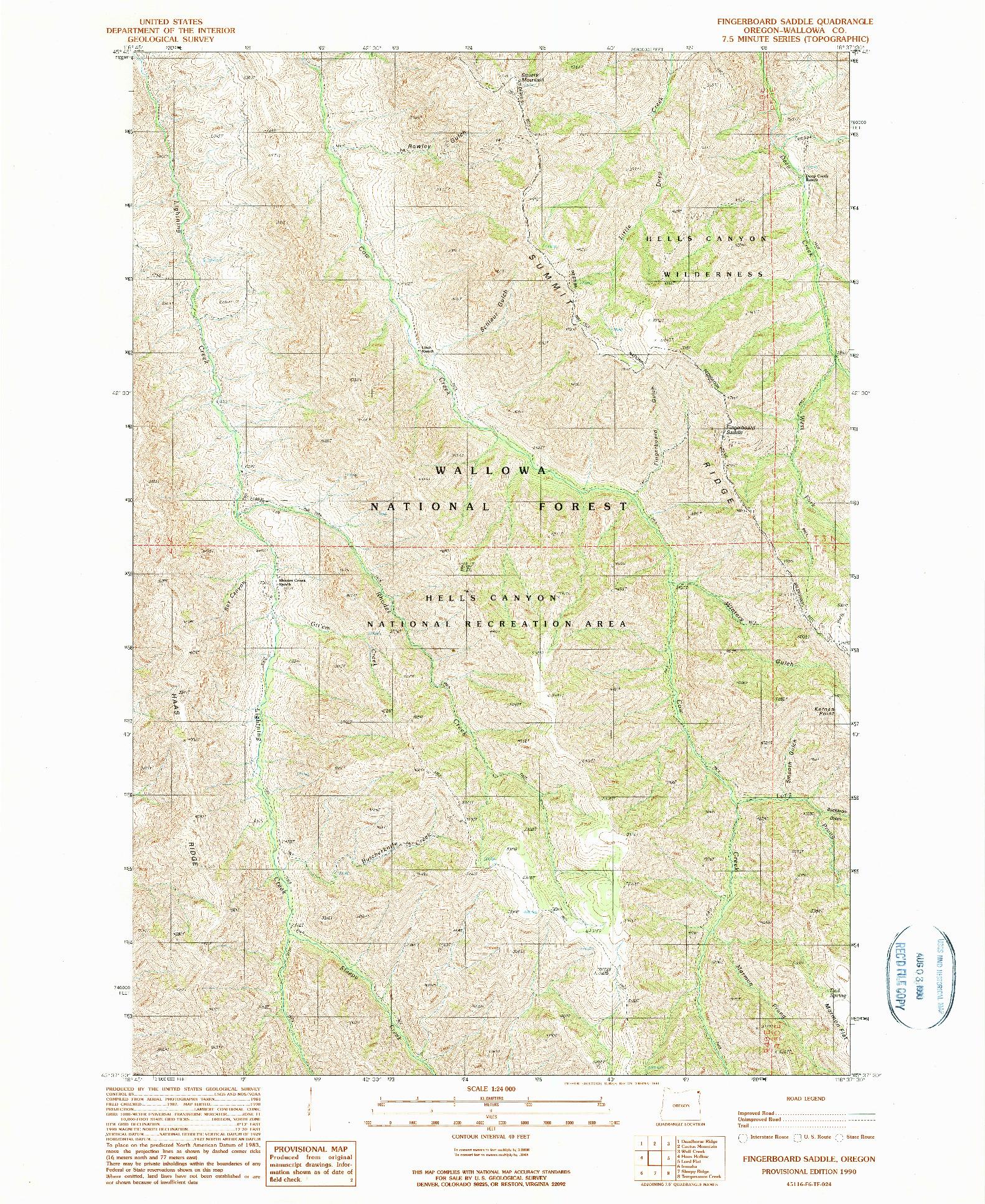 USGS 1:24000-SCALE QUADRANGLE FOR FINGERBOARD SADDLE, OR 1990
