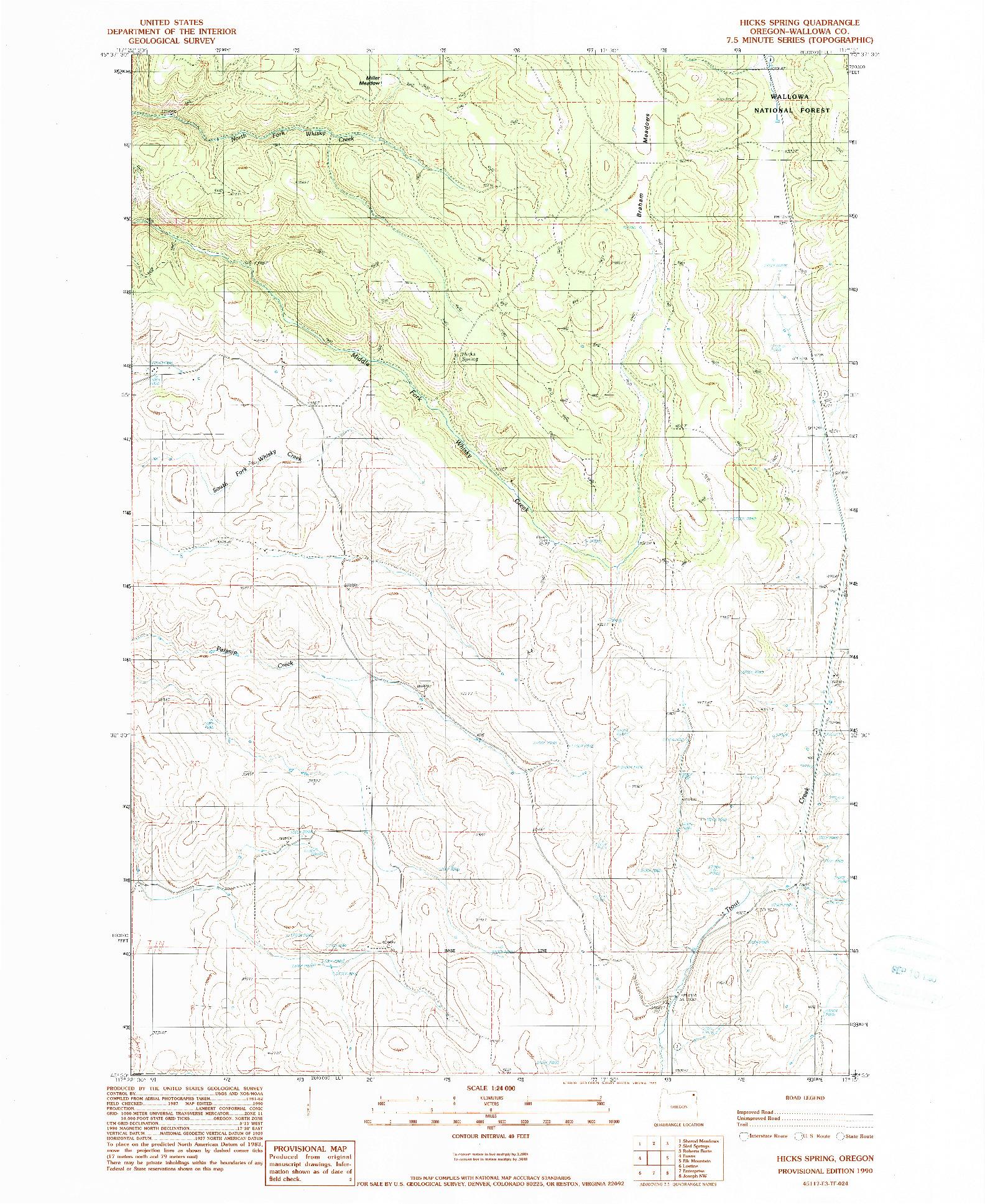 USGS 1:24000-SCALE QUADRANGLE FOR HICKS SPRING, OR 1990