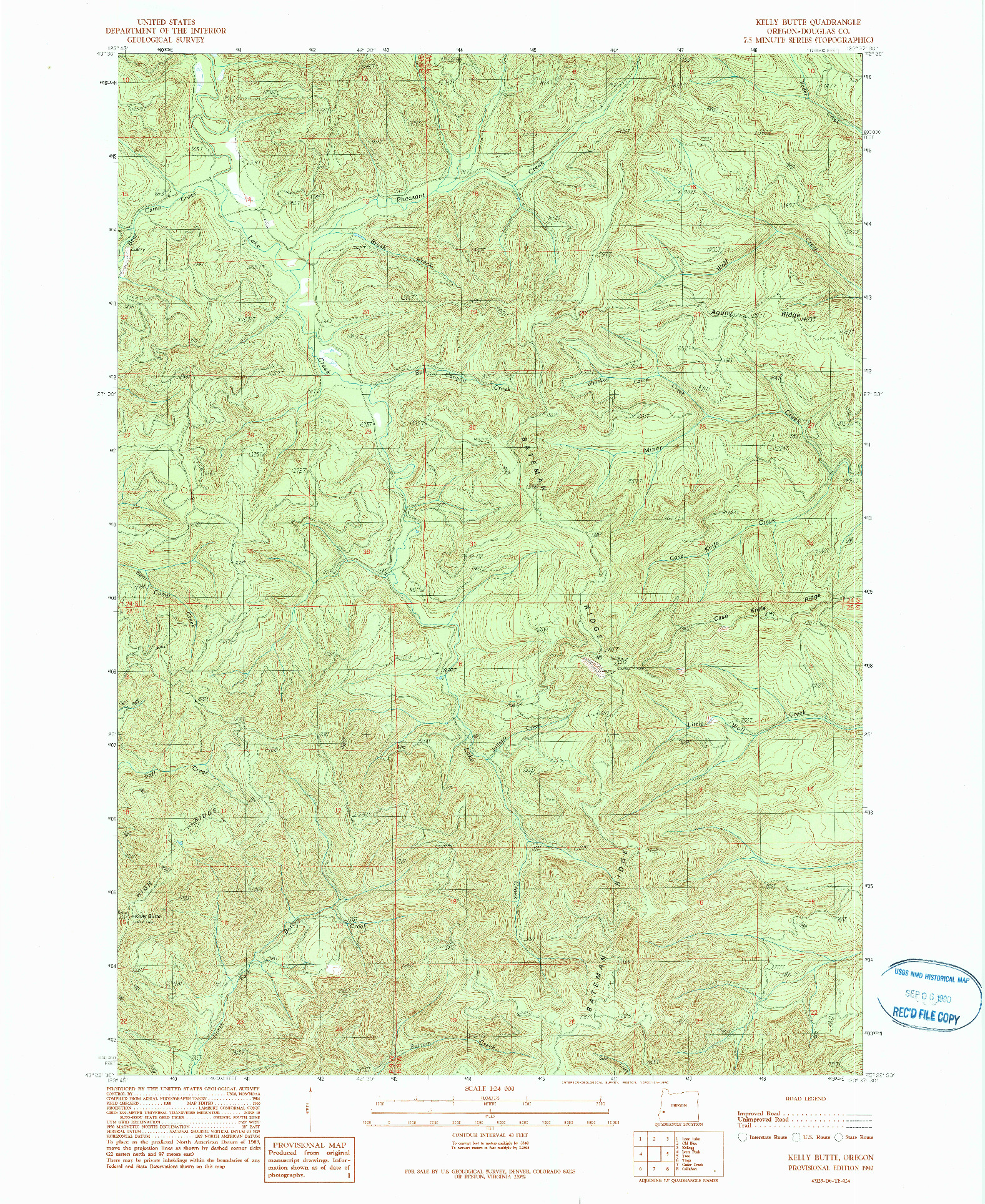 USGS 1:24000-SCALE QUADRANGLE FOR KELLY BUTTE, OR 1990