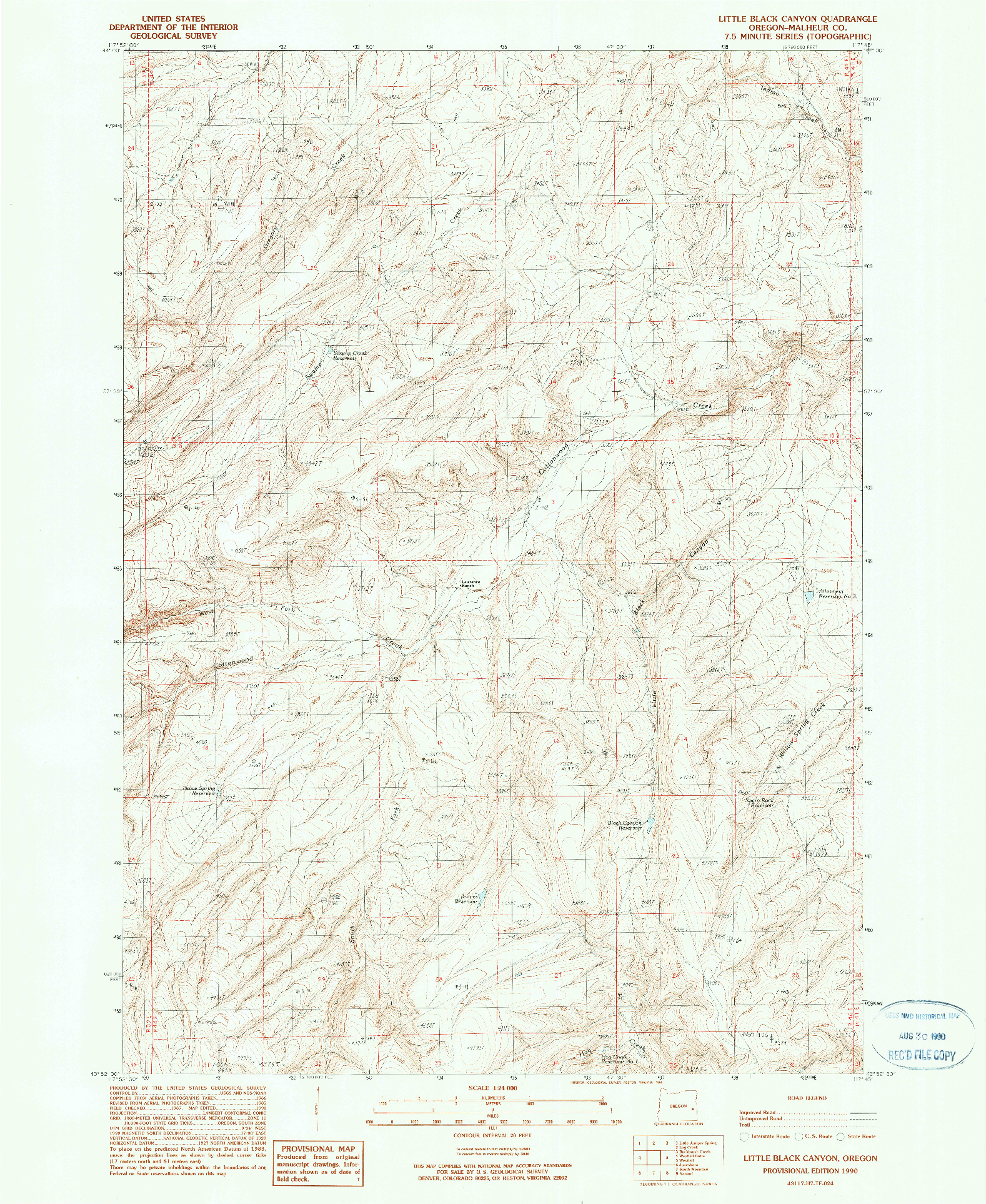 USGS 1:24000-SCALE QUADRANGLE FOR LITTLE BLACK CANYON, OR 1990