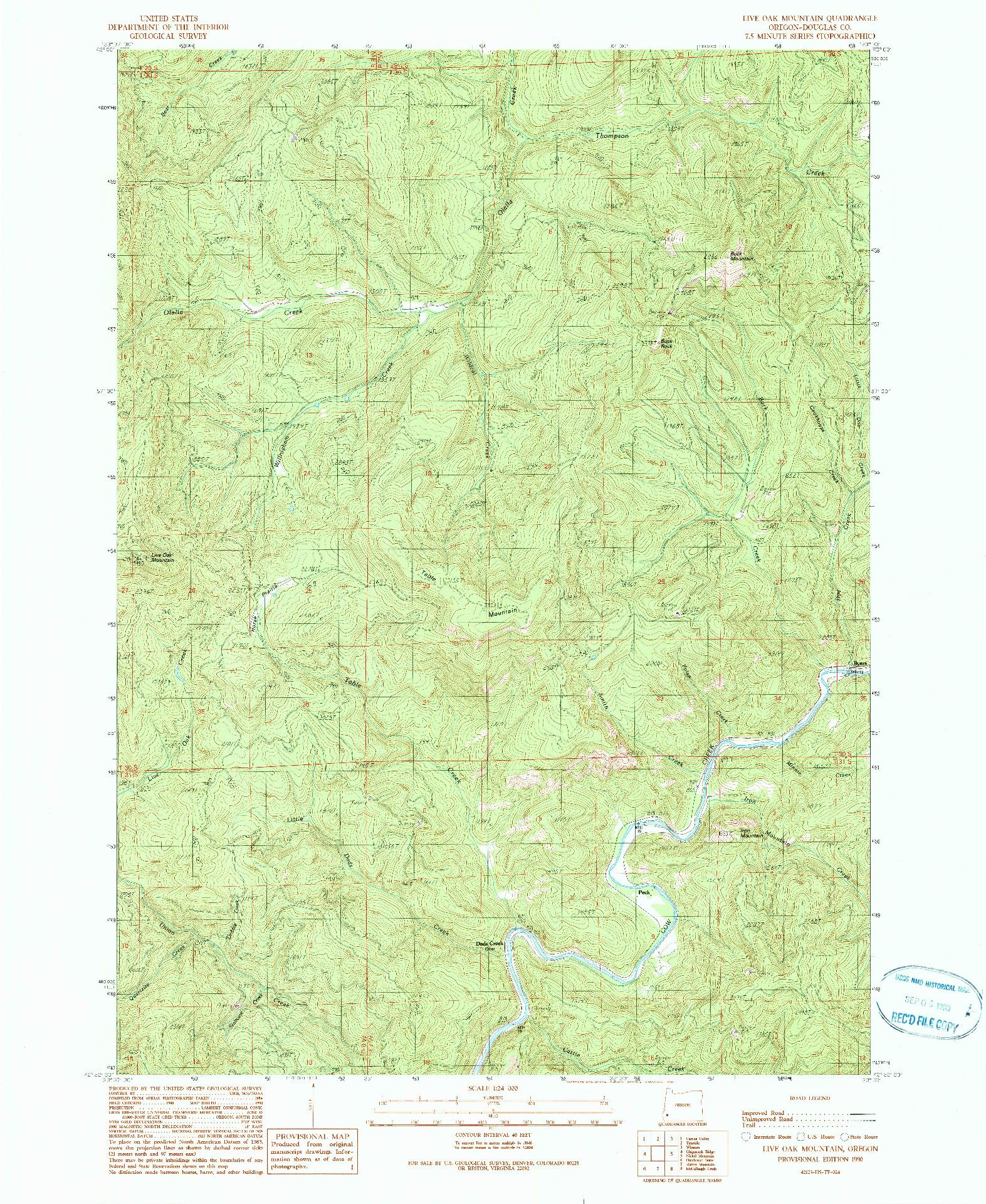 USGS 1:24000-SCALE QUADRANGLE FOR LIVE OAK MOUNTAIN, OR 1990