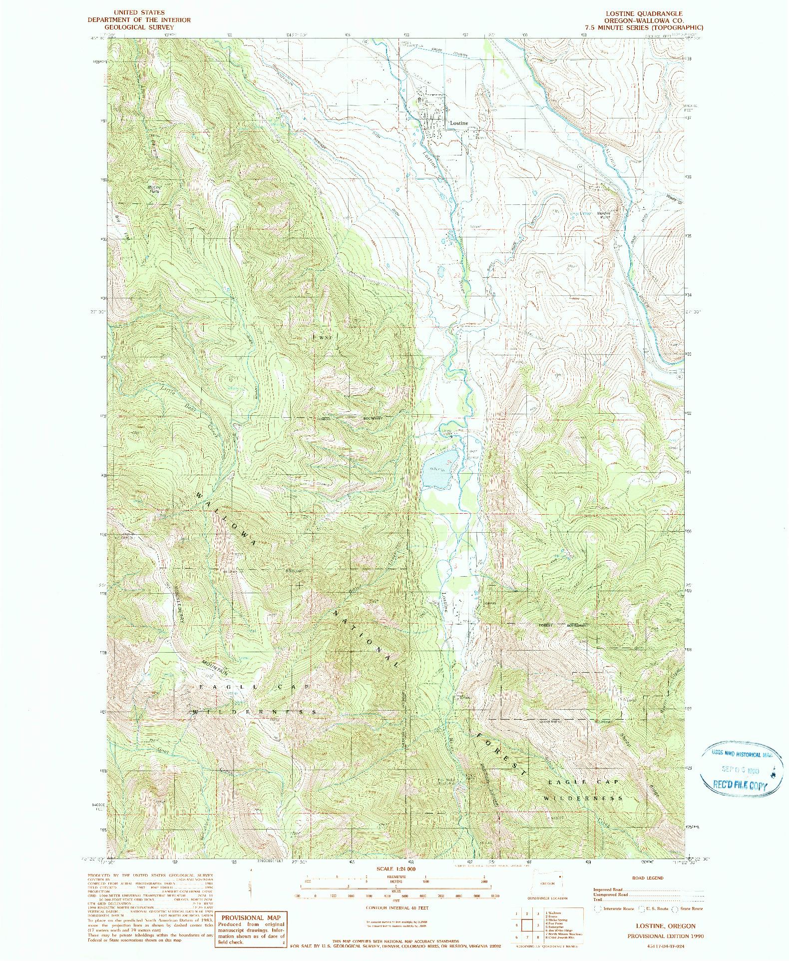 USGS 1:24000-SCALE QUADRANGLE FOR LOSTINE, OR 1990