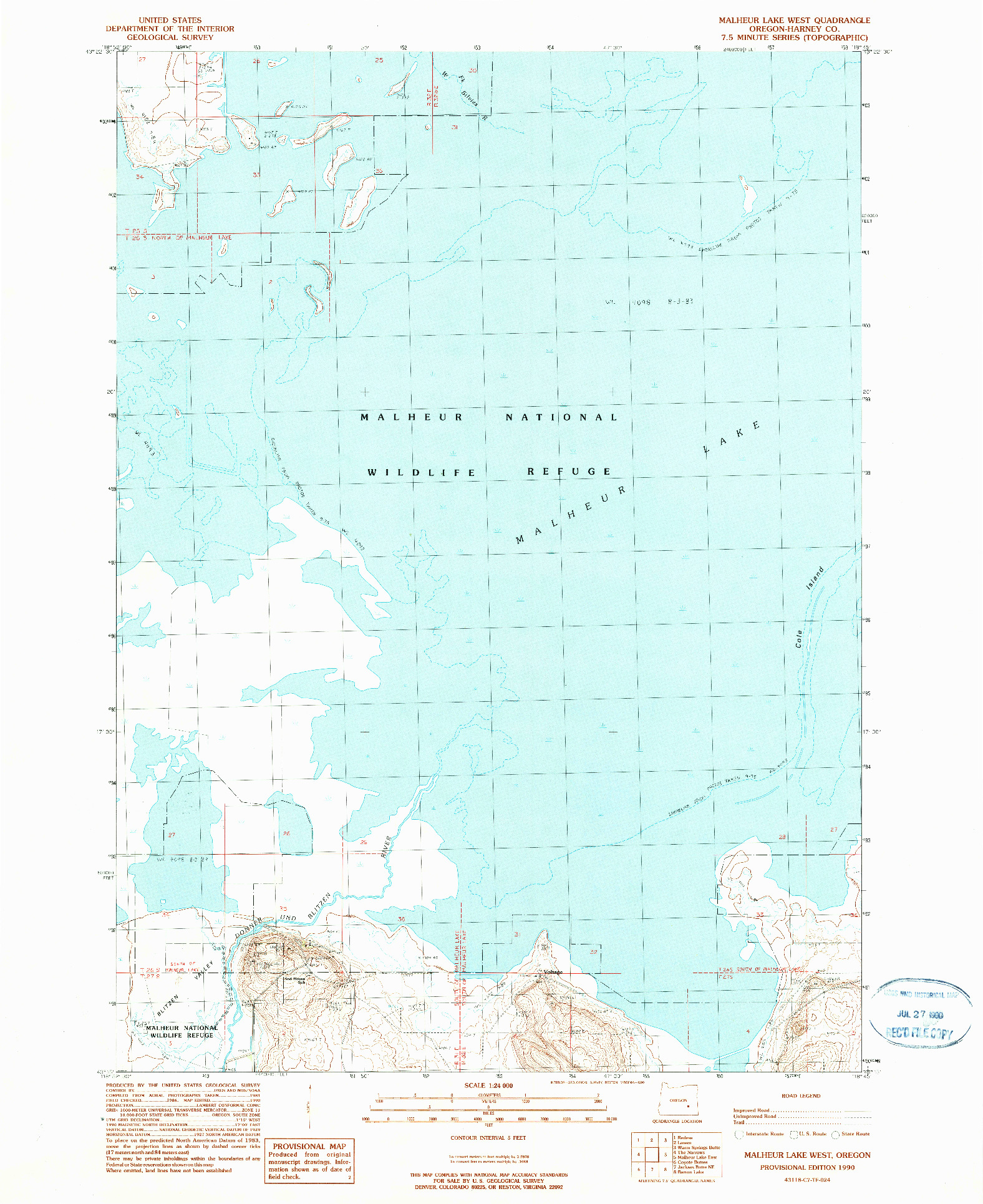 USGS 1:24000-SCALE QUADRANGLE FOR MALHEUR LAKE WEST, OR 1990