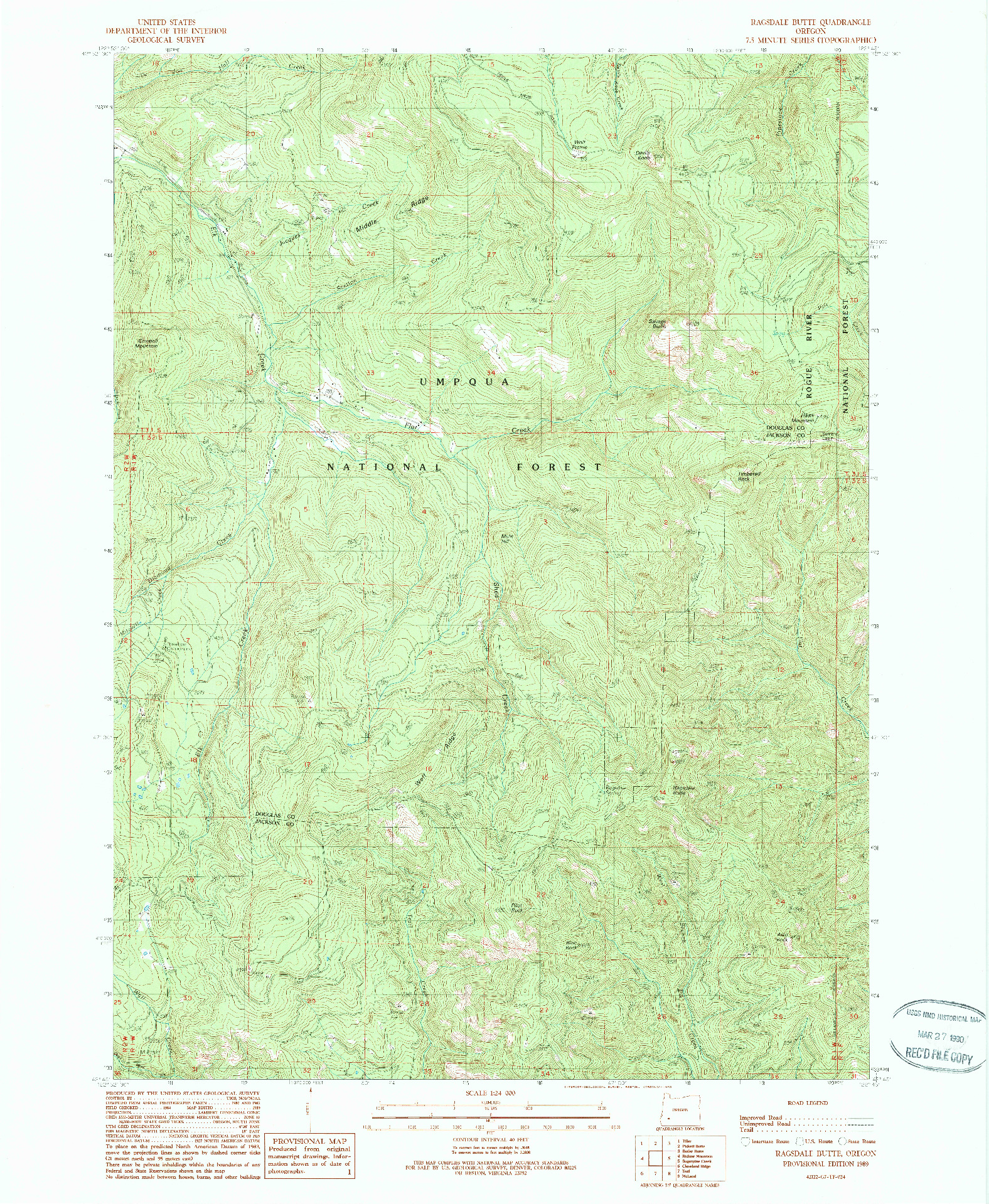 USGS 1:24000-SCALE QUADRANGLE FOR RAGSDALE BUTTE, OR 1989