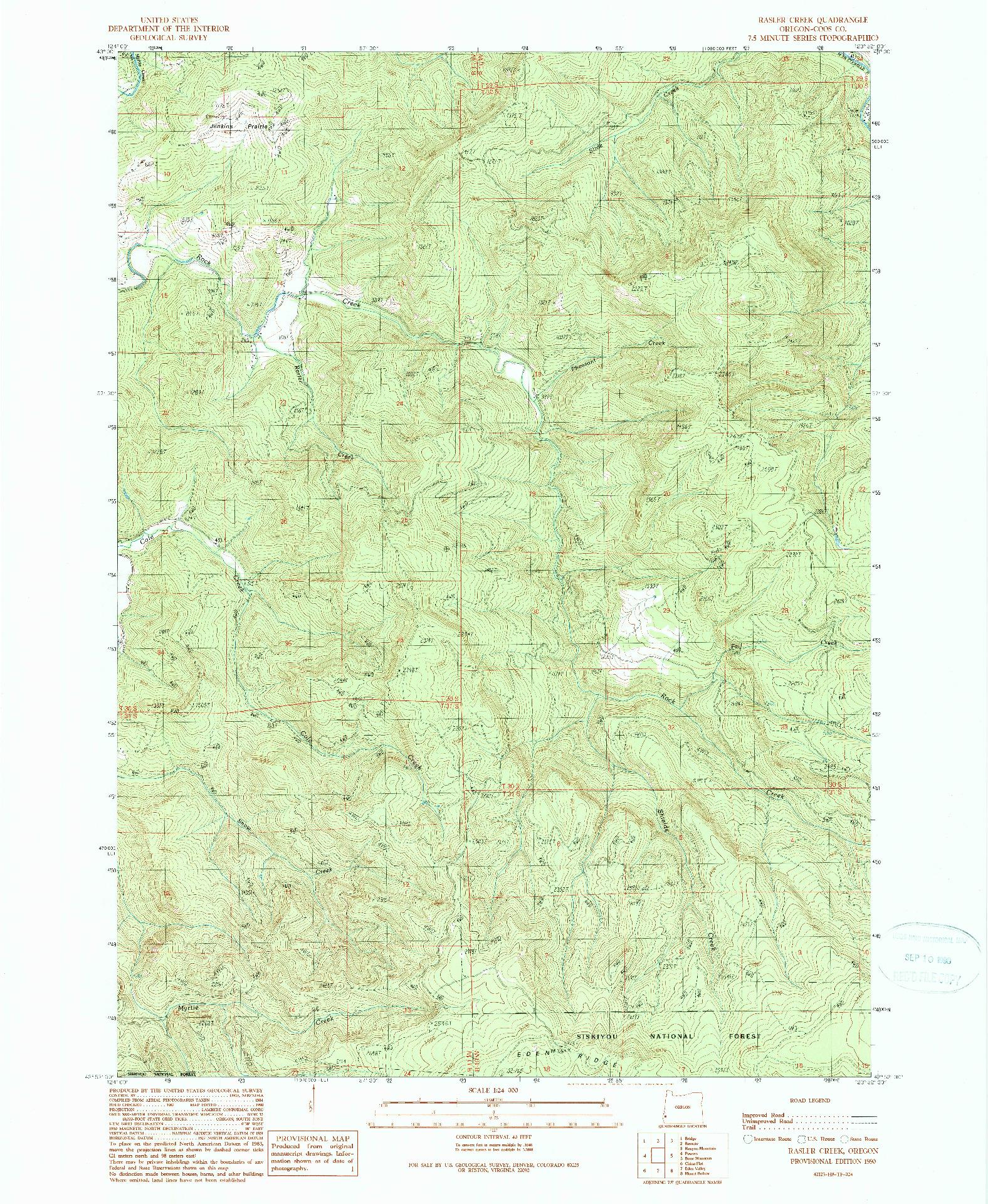 USGS 1:24000-SCALE QUADRANGLE FOR RASLER CREEK, OR 1990