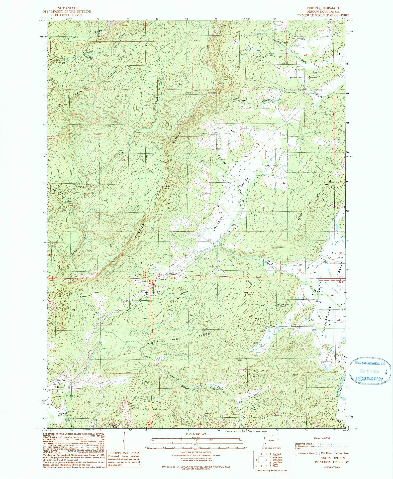 USGS 1:24000-SCALE QUADRANGLE FOR RESTON, OR 1990