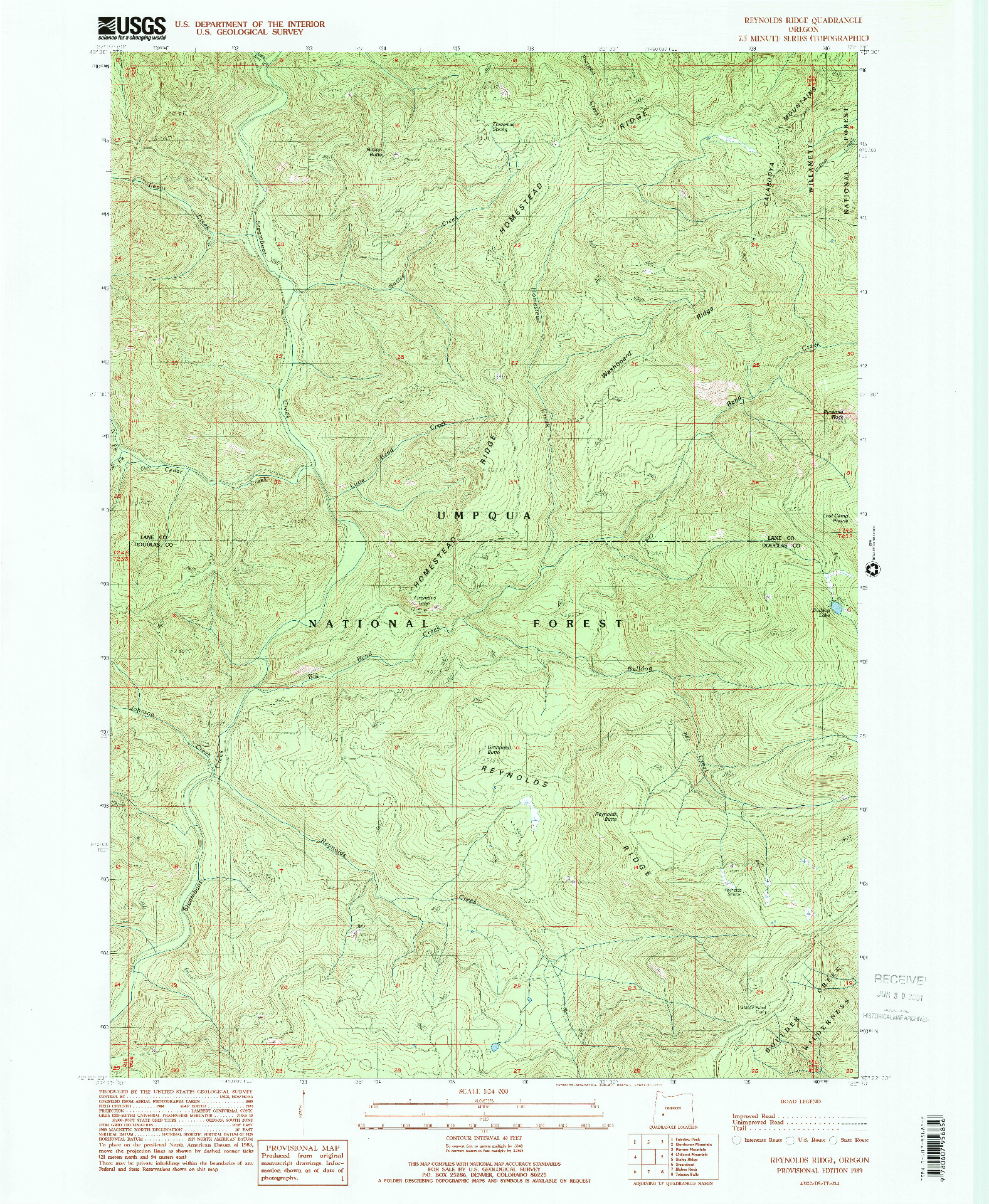 USGS 1:24000-SCALE QUADRANGLE FOR REYNOLDS RIDGE, OR 1989