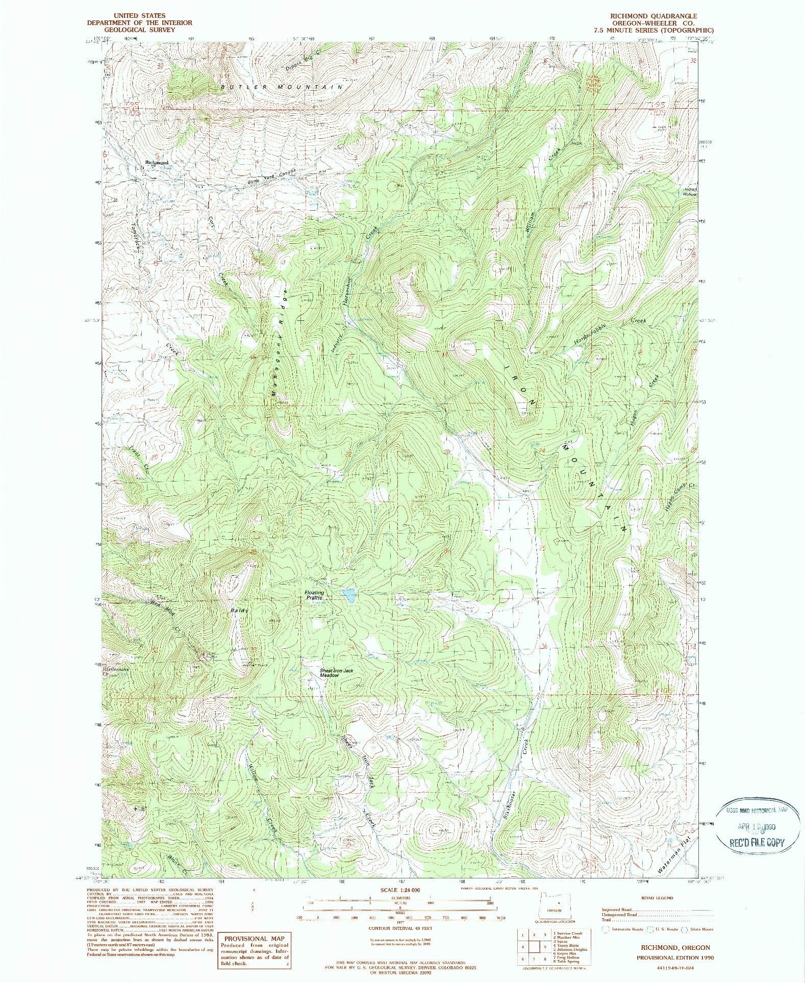 USGS 1:24000-SCALE QUADRANGLE FOR RICHMOND, OR 1990