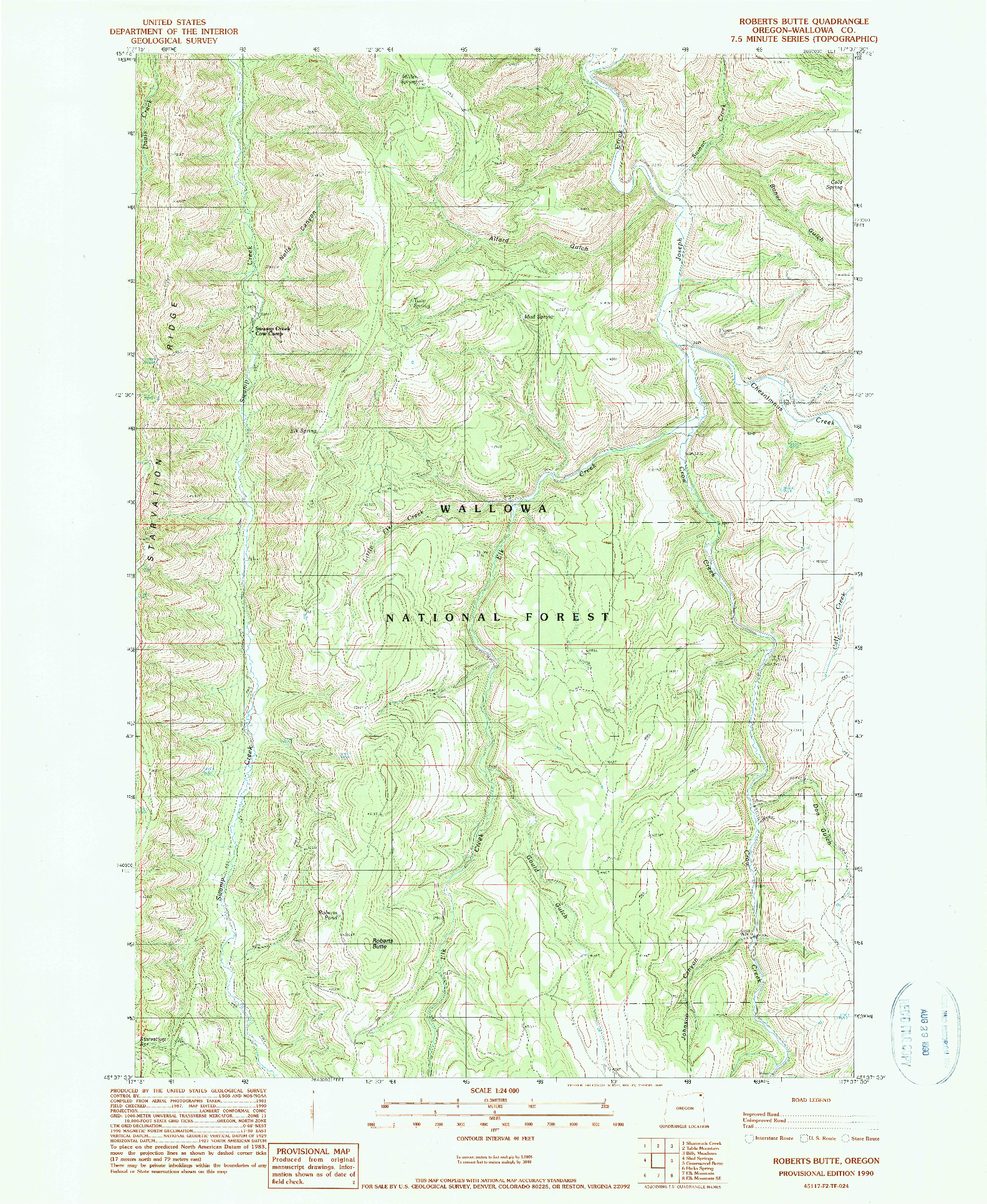 USGS 1:24000-SCALE QUADRANGLE FOR ROBERTS BUTTE, OR 1990