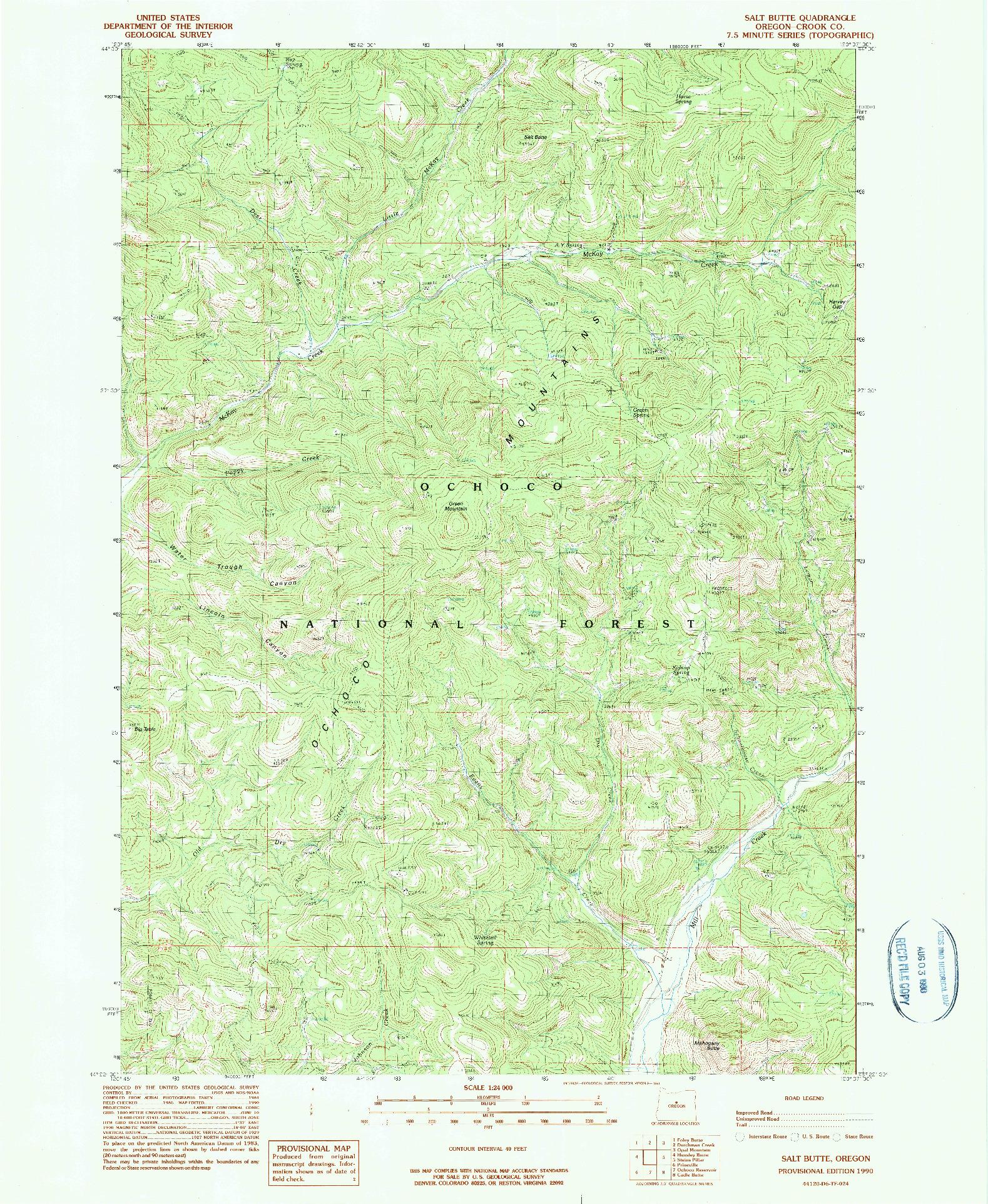 USGS 1:24000-SCALE QUADRANGLE FOR SALT BUTTE, OR 1990