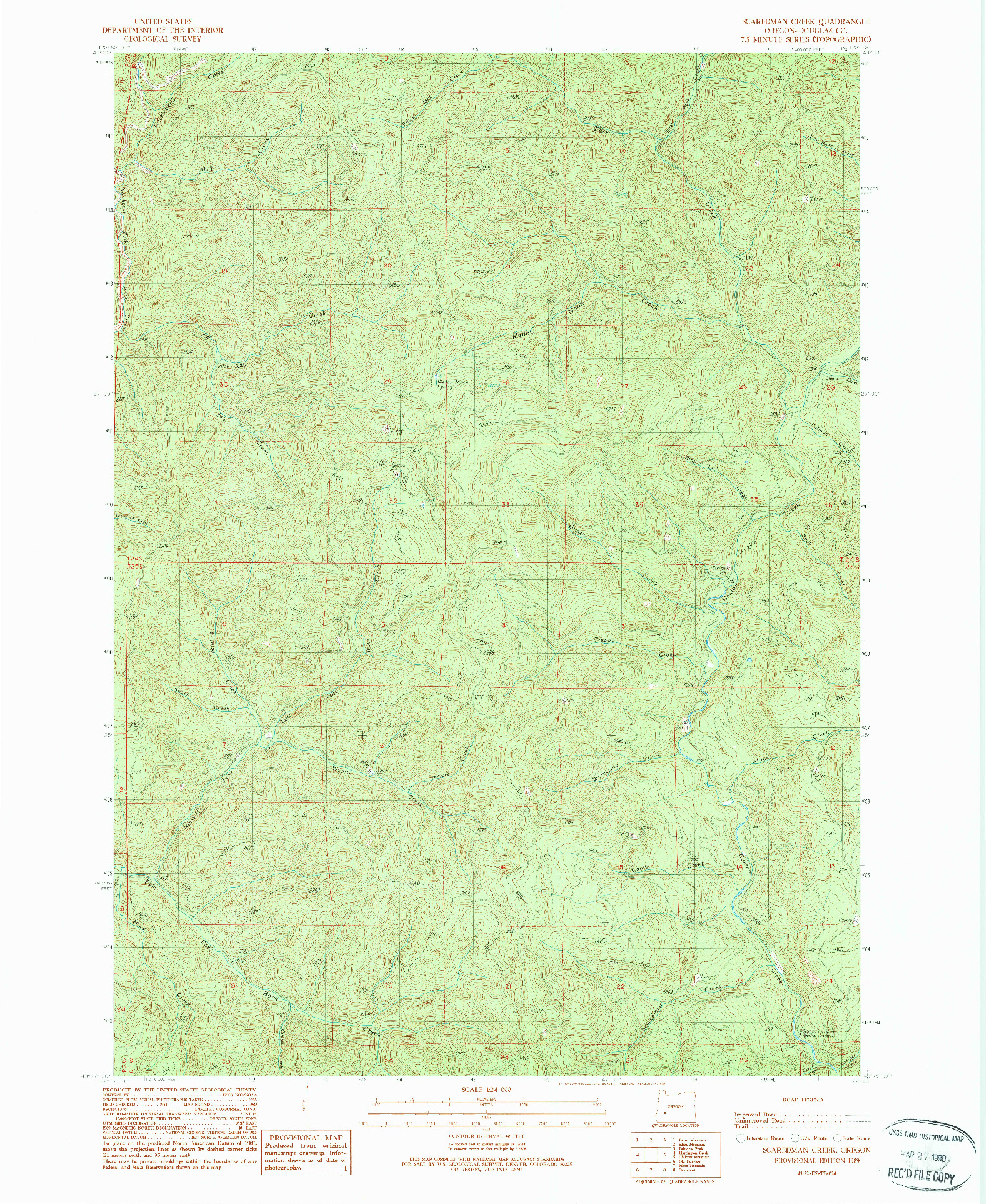 USGS 1:24000-SCALE QUADRANGLE FOR SCAREDMAN CREEK, OR 1989