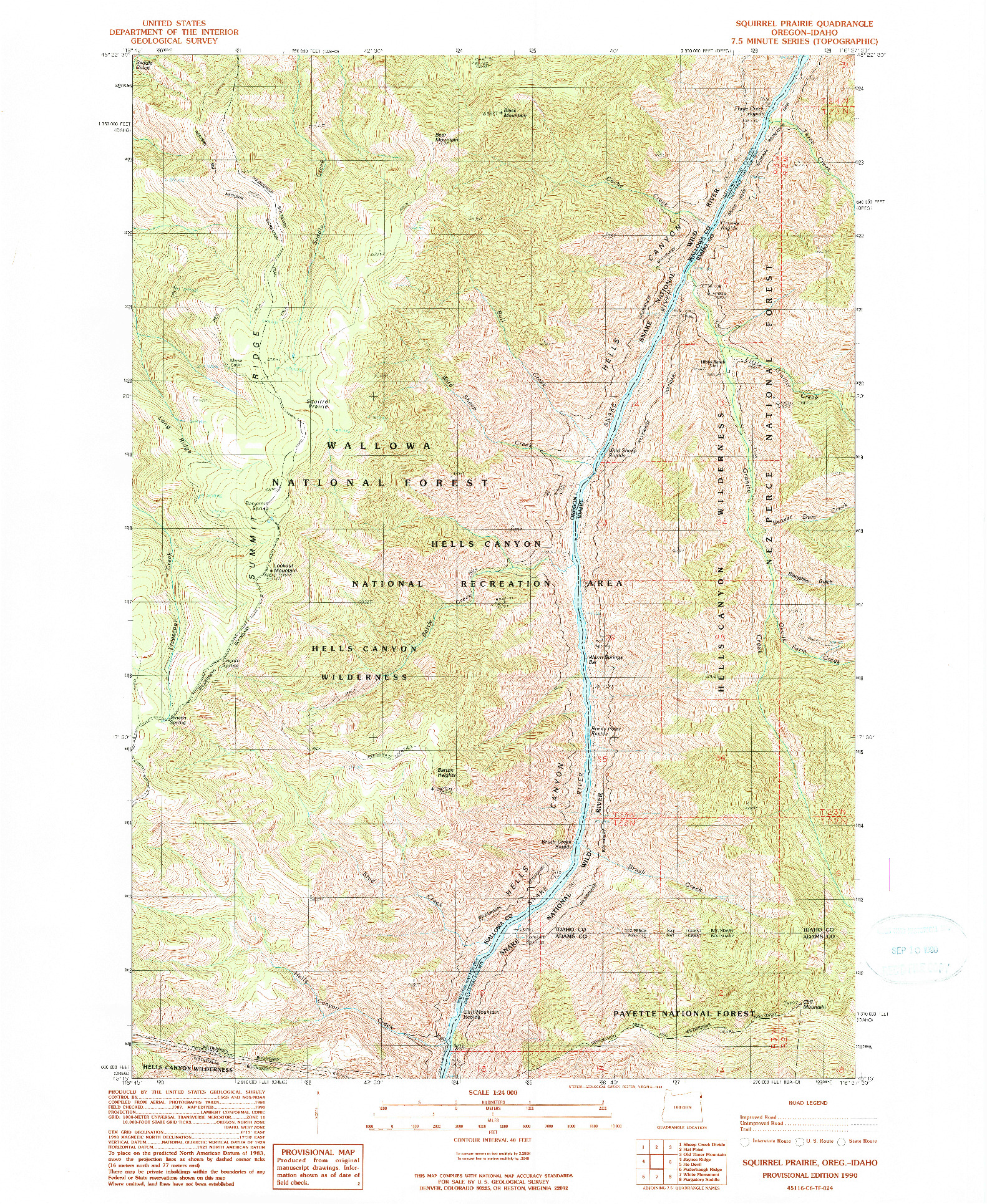 USGS 1:24000-SCALE QUADRANGLE FOR SQUIRREL PRAIRIE, OR 1990