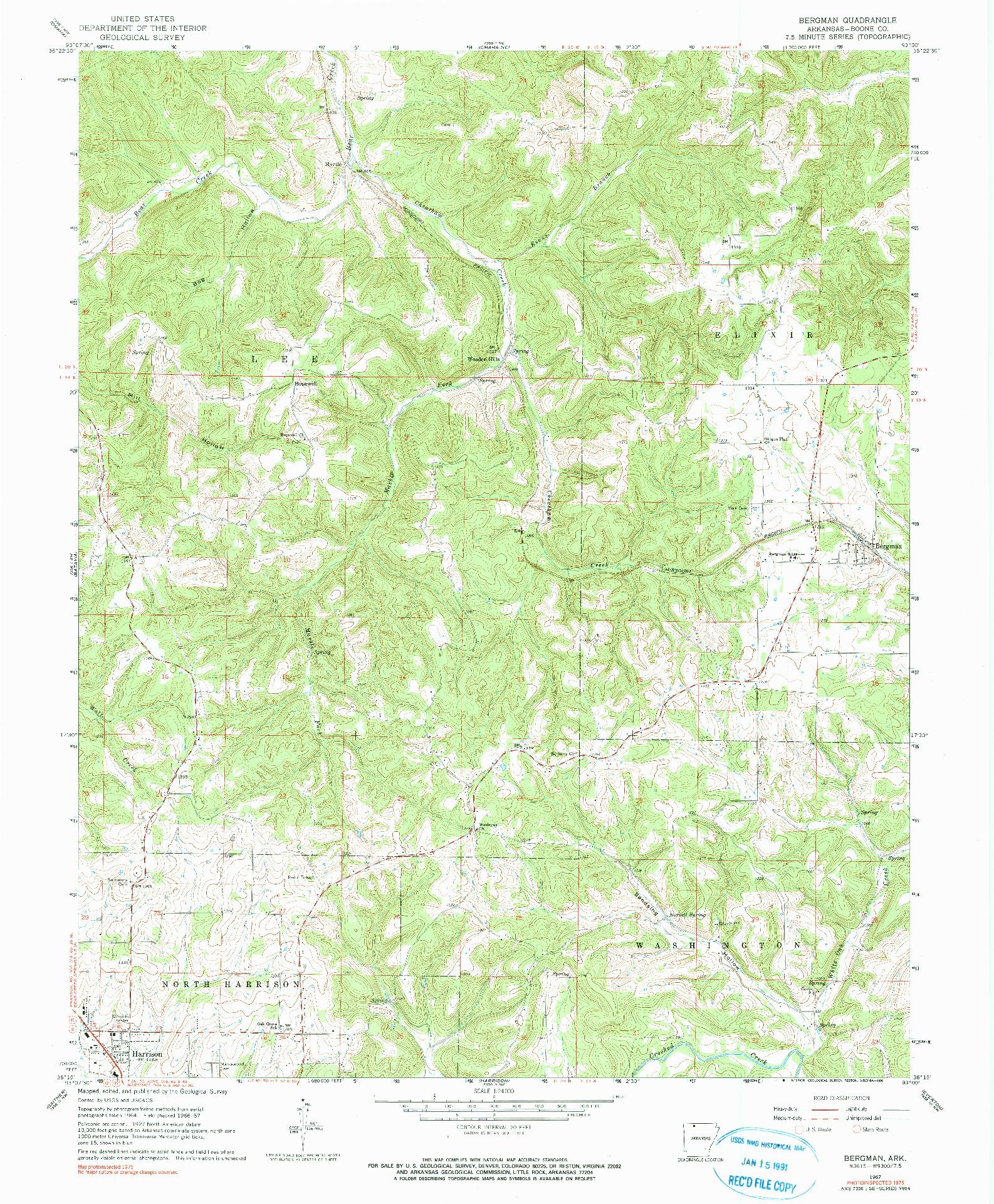 USGS 1:24000-SCALE QUADRANGLE FOR BERGMAN, AR 1967