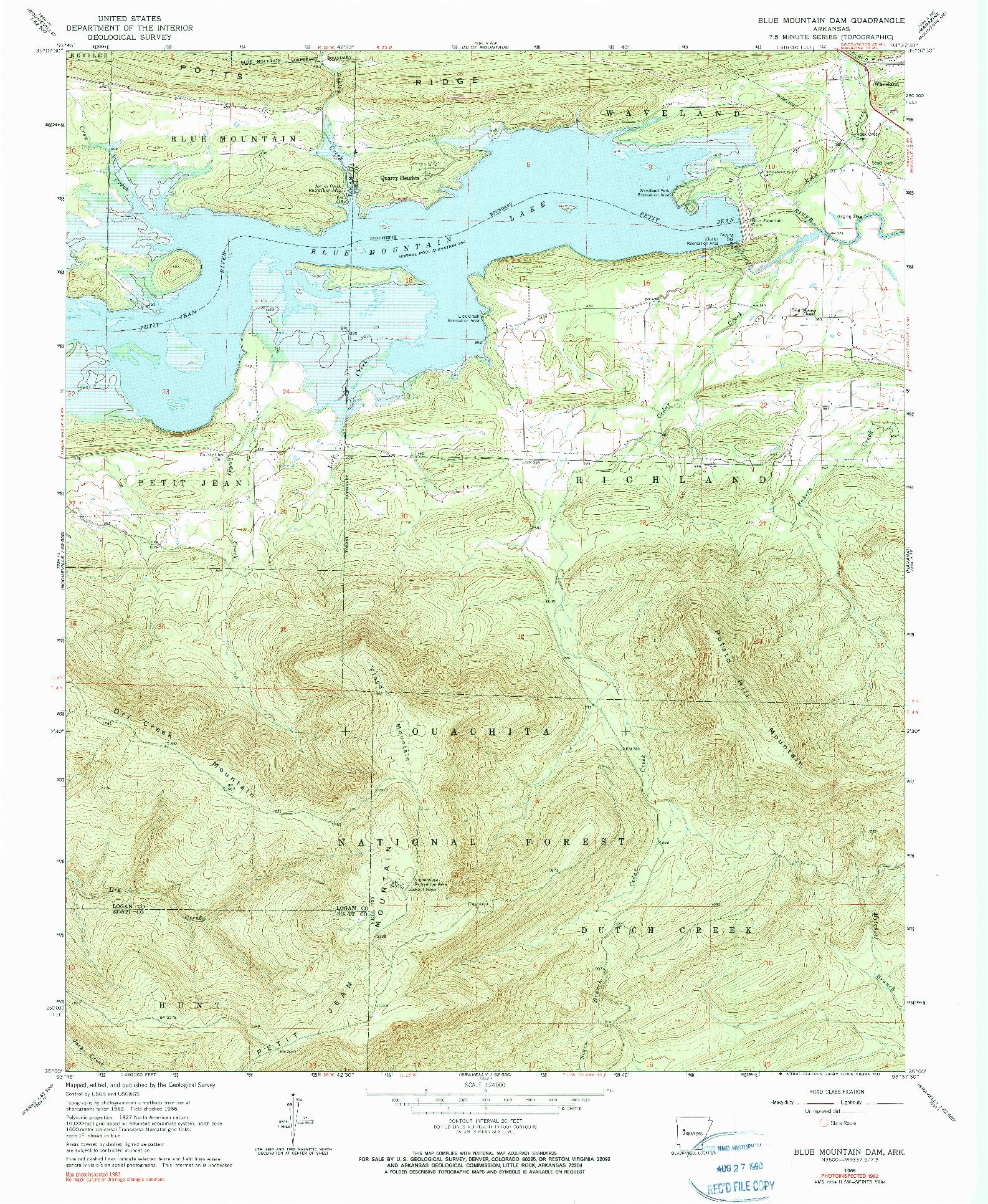 USGS 1:24000-SCALE QUADRANGLE FOR BLUE MOUNTAIN DAM, AR 1966