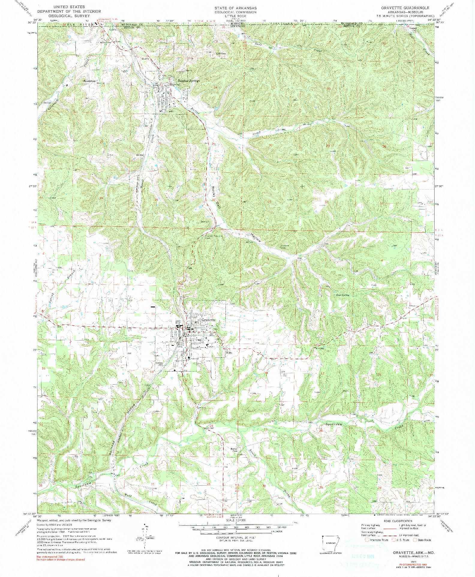 USGS 1:24000-SCALE QUADRANGLE FOR GRAVETTE, AR 1971