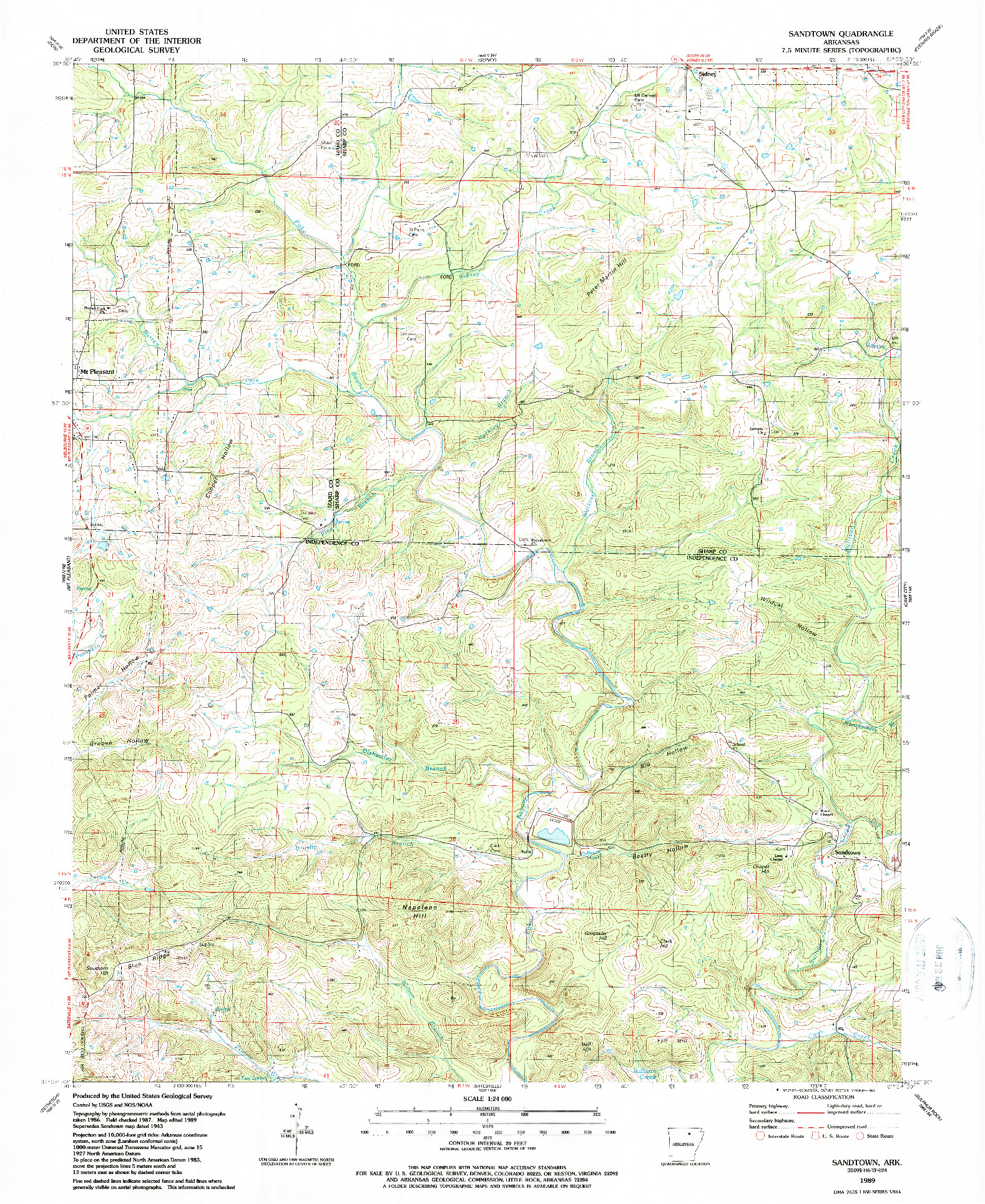 USGS 1:24000-SCALE QUADRANGLE FOR SANDTOWN, AR 1989