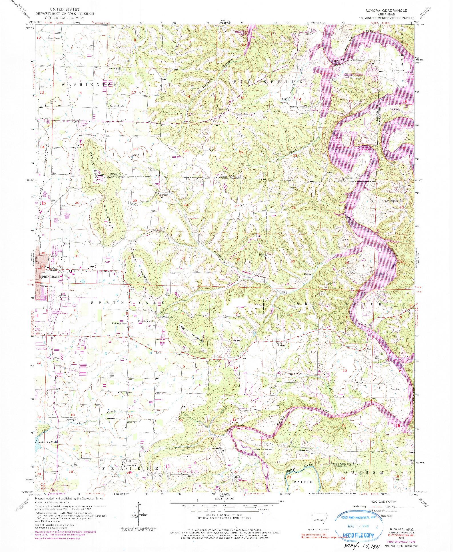 USGS 1:24000-SCALE QUADRANGLE FOR SONORA, AR 1958