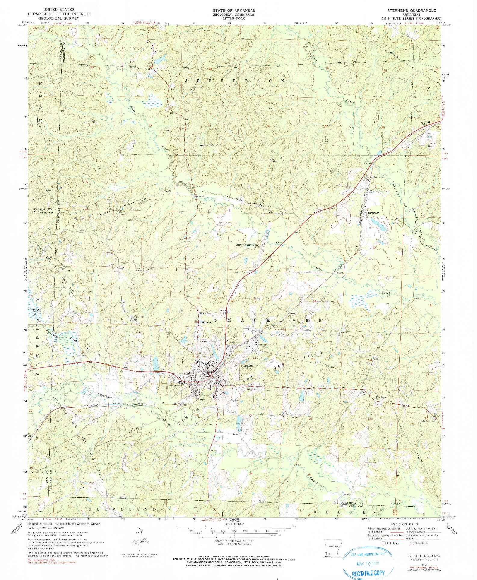 USGS 1:24000-SCALE QUADRANGLE FOR STEPHENS, AR 1969
