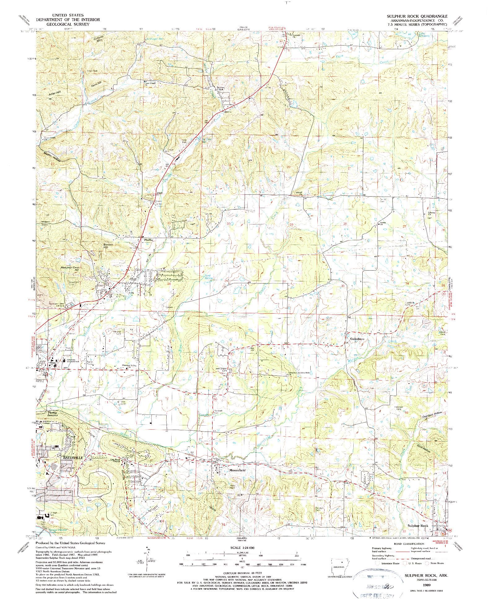 USGS 1:24000-SCALE QUADRANGLE FOR SULPHUR ROCK, AR 1989