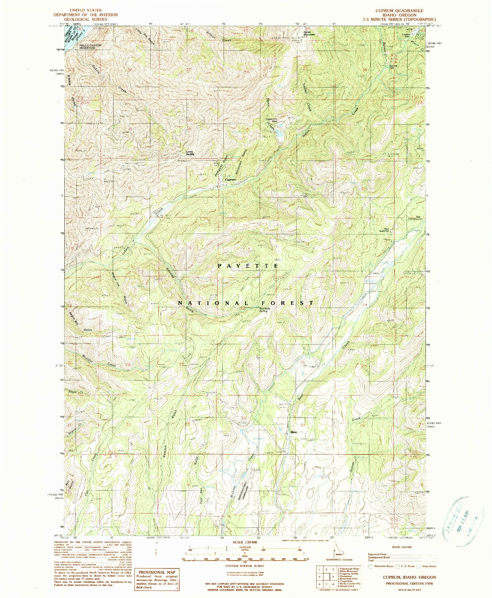 USGS 1:24000-SCALE QUADRANGLE FOR CUPRUM, ID 1990