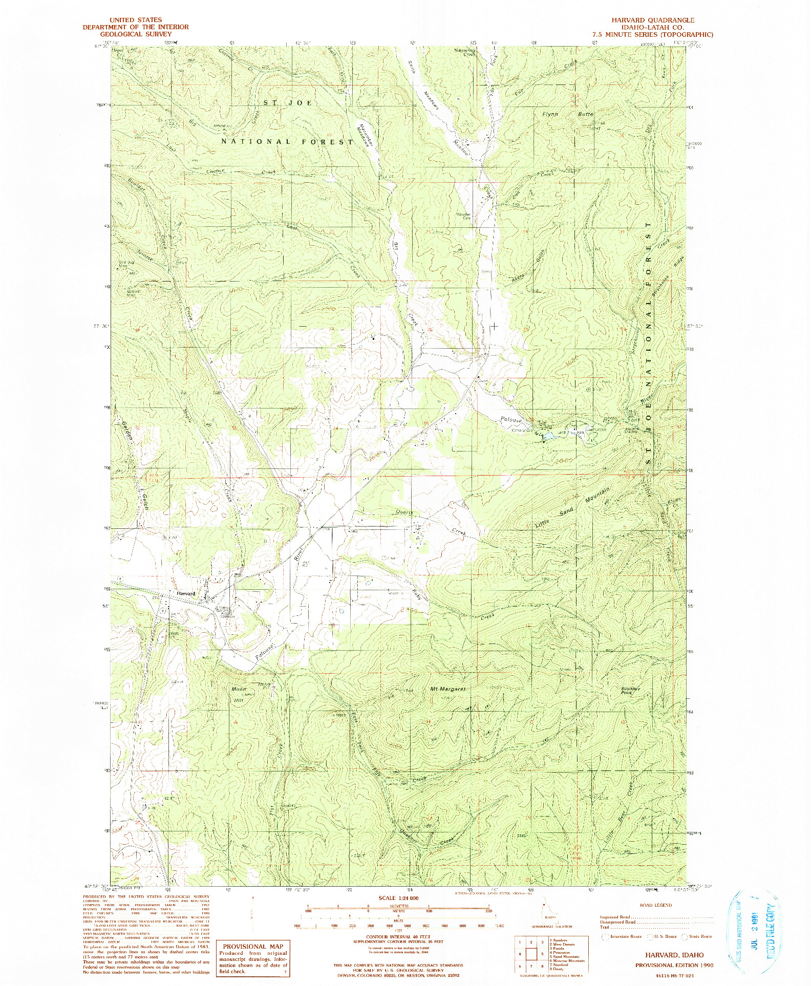 USGS 1:24000-SCALE QUADRANGLE FOR HARVARD, ID 1990