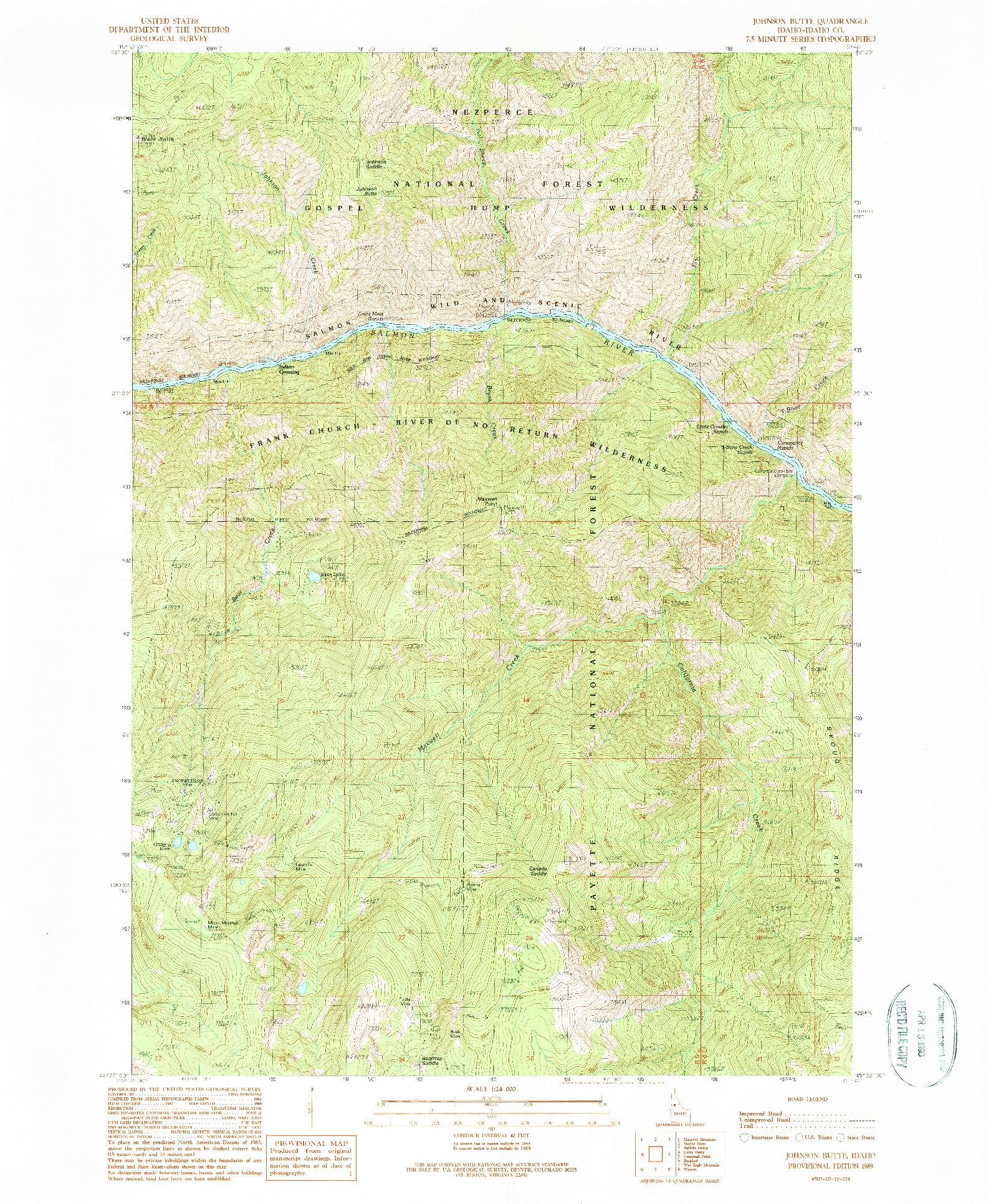 USGS 1:24000-SCALE QUADRANGLE FOR JOHNSON BUTTE, ID 1989