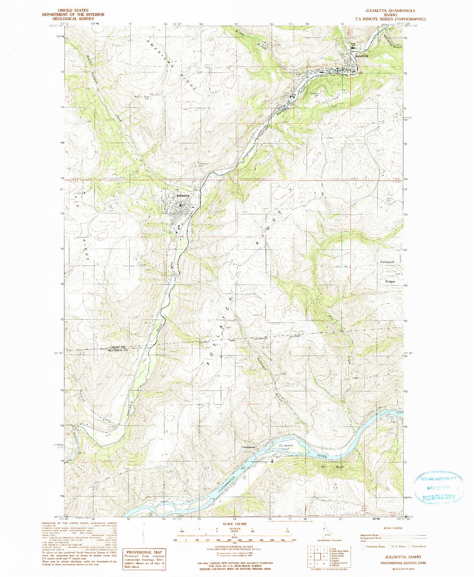USGS 1:24000-SCALE QUADRANGLE FOR JULIAETTA, ID 1990