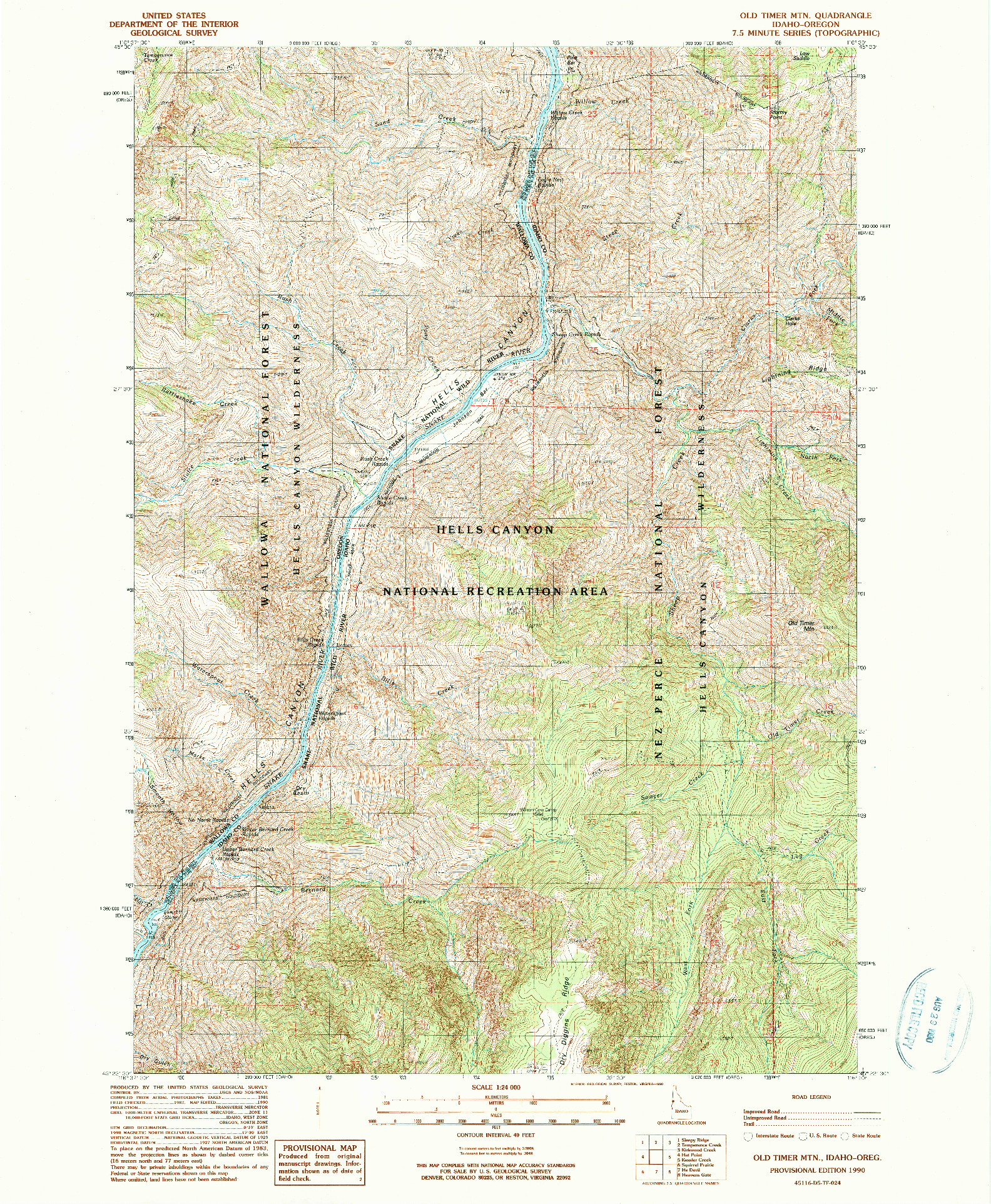 USGS 1:24000-SCALE QUADRANGLE FOR OLD TIMER MTN., ID 1990