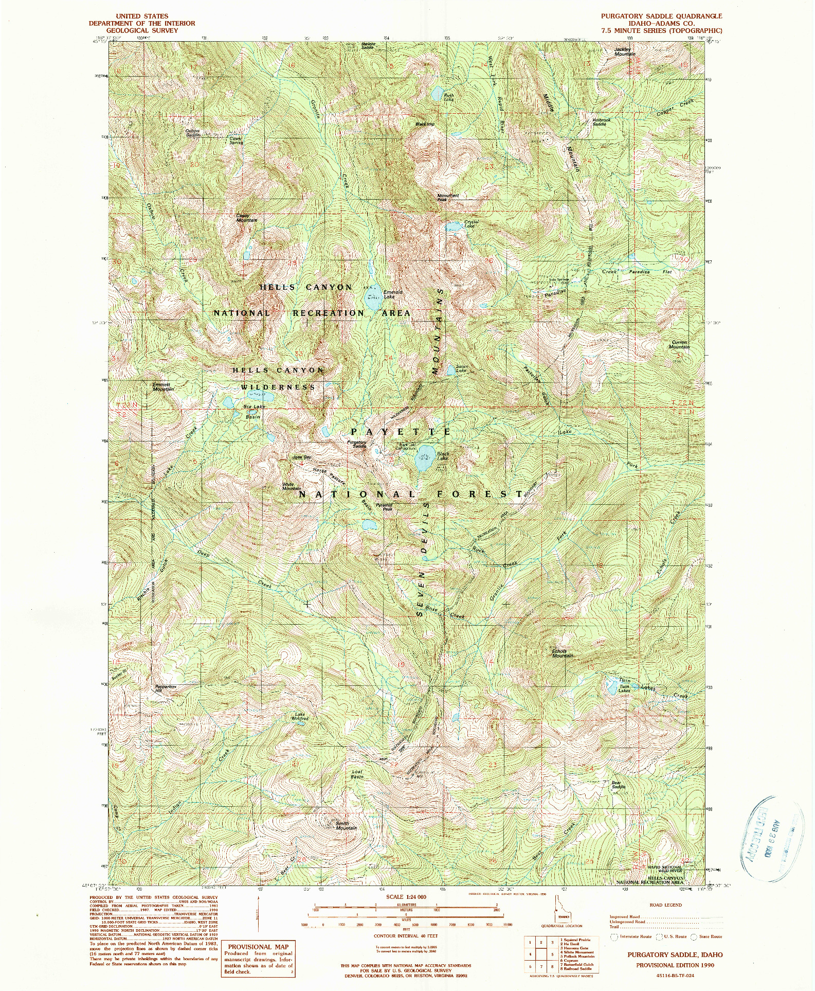 USGS 1:24000-SCALE QUADRANGLE FOR PURGATORY SADDLE, ID 1990