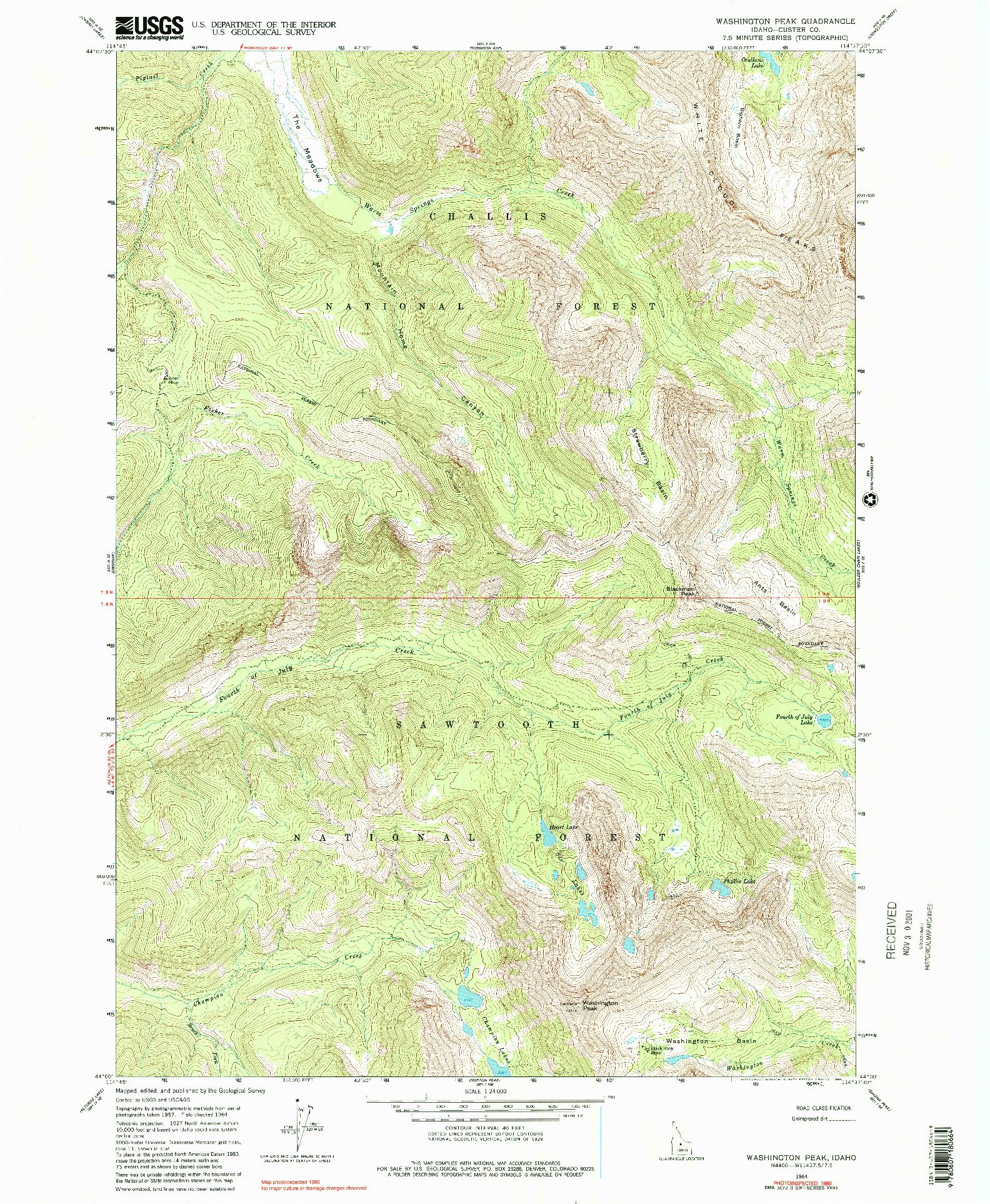 USGS 1:24000-SCALE QUADRANGLE FOR WASHINGTON PEAK, ID 1964