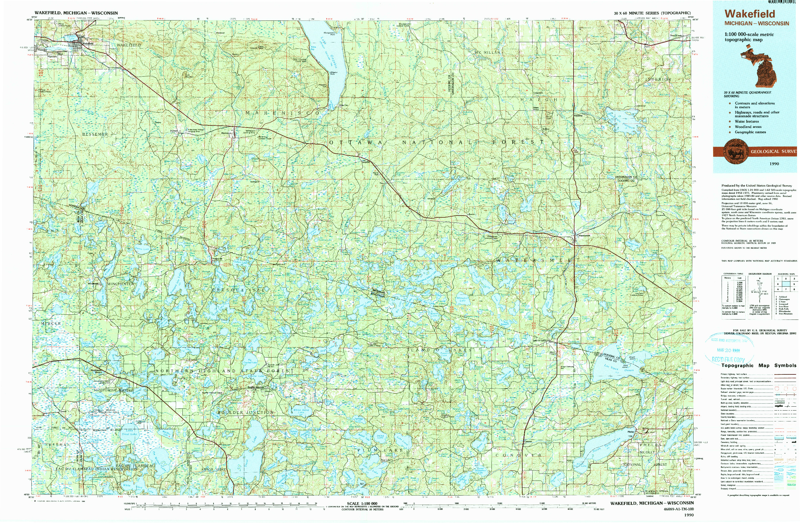 USGS 1:100000-SCALE QUADRANGLE FOR WAKEFIELD, MI 1990