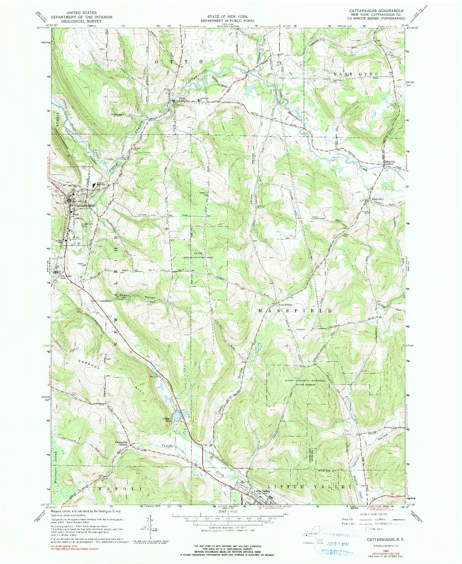 USGS 1:24000-SCALE QUADRANGLE FOR CATTARAUGUS, NY 1963