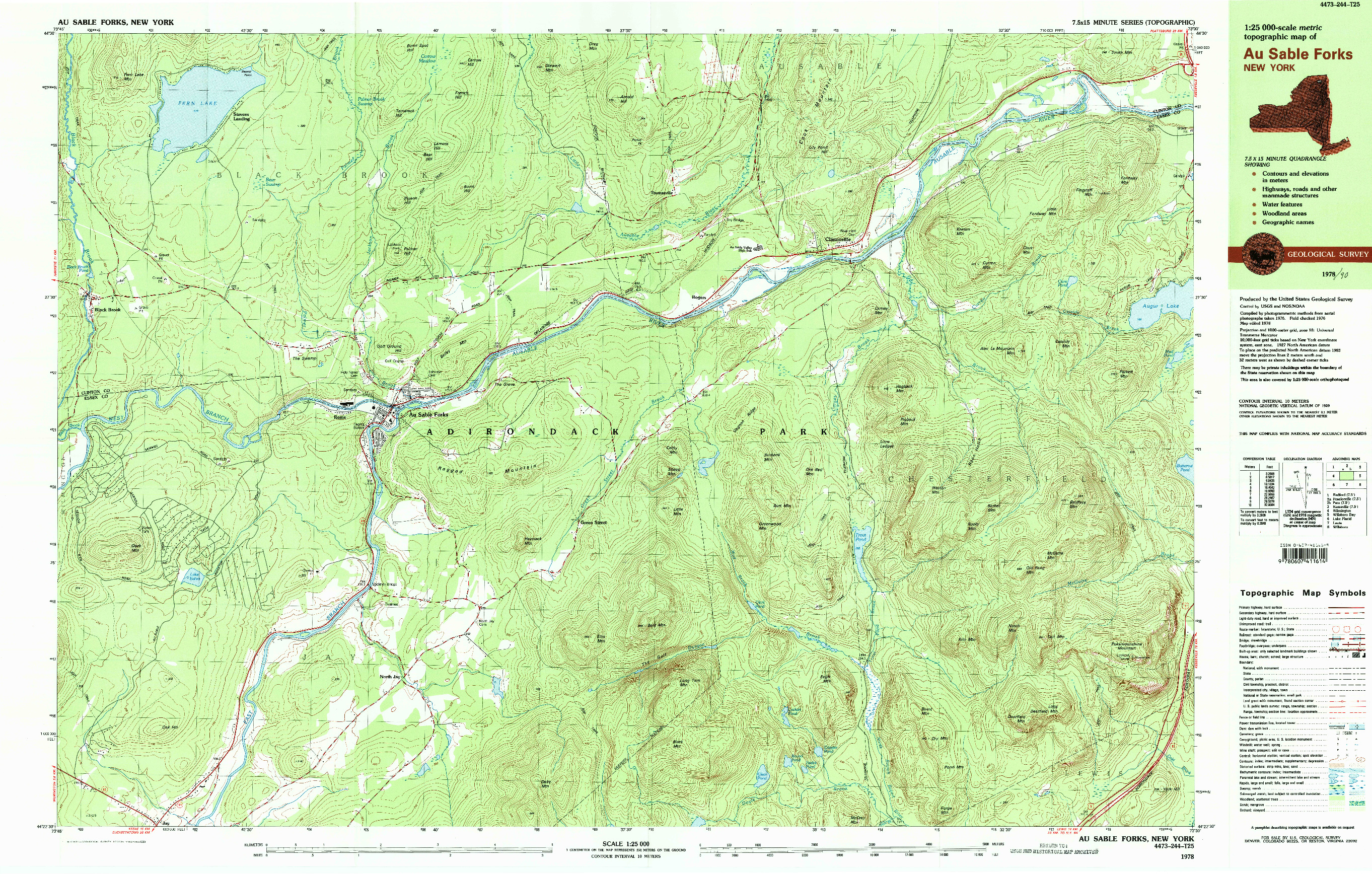 USGS 1:25000-SCALE QUADRANGLE FOR AU SABLE FORKS, NY 1978