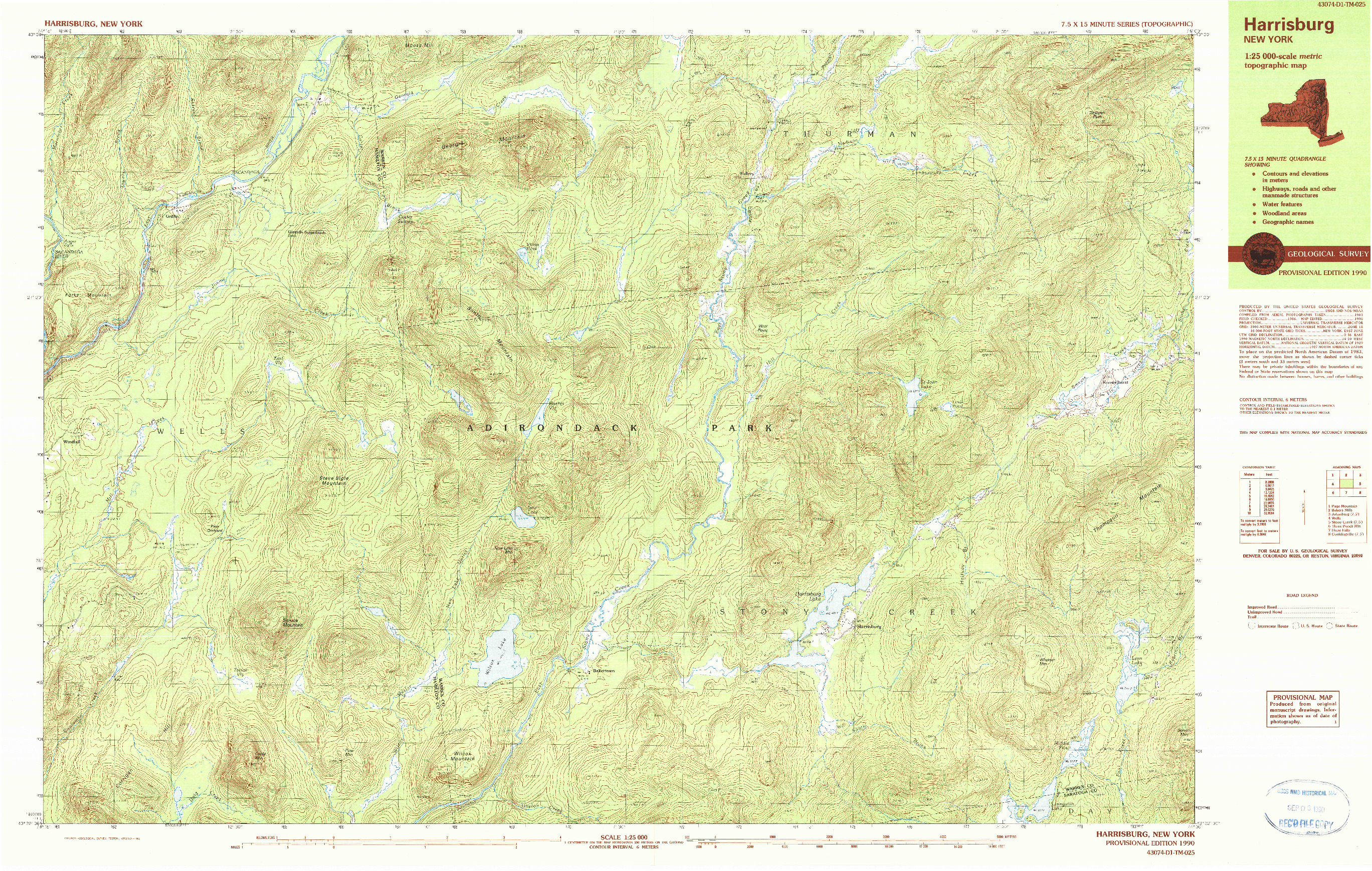 USGS 1:25000-SCALE QUADRANGLE FOR HARRISBURG, NY 1990
