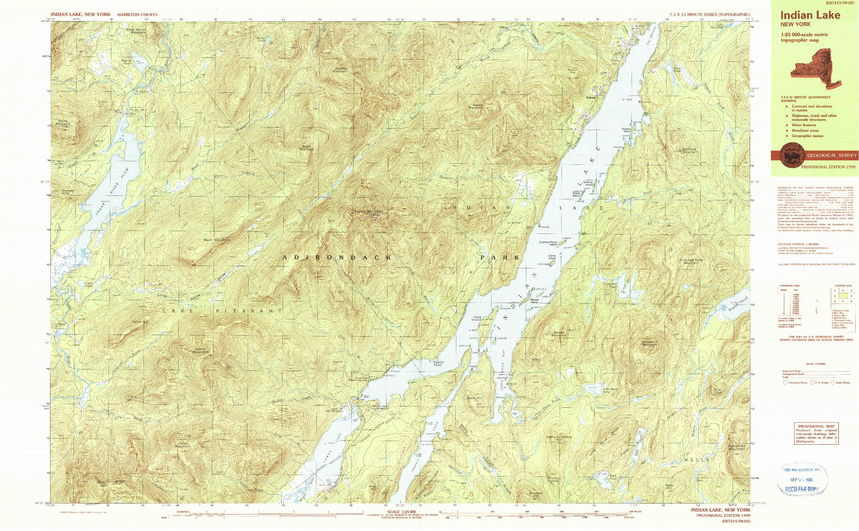 USGS 1:25000-SCALE QUADRANGLE FOR INDIAN LAKE, NY 1990