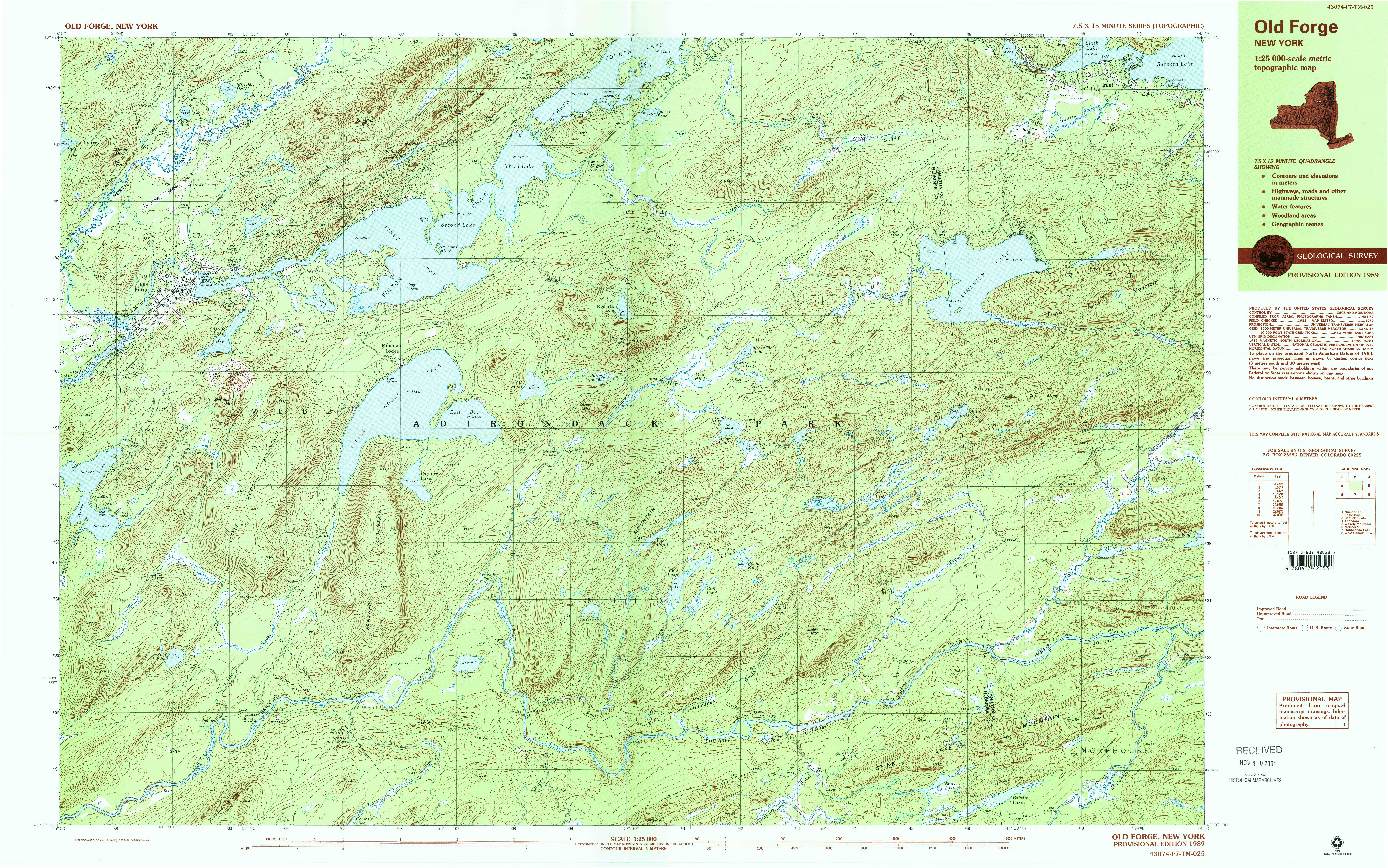 USGS 1:25000-SCALE QUADRANGLE FOR OLD FORGE, NY 1989