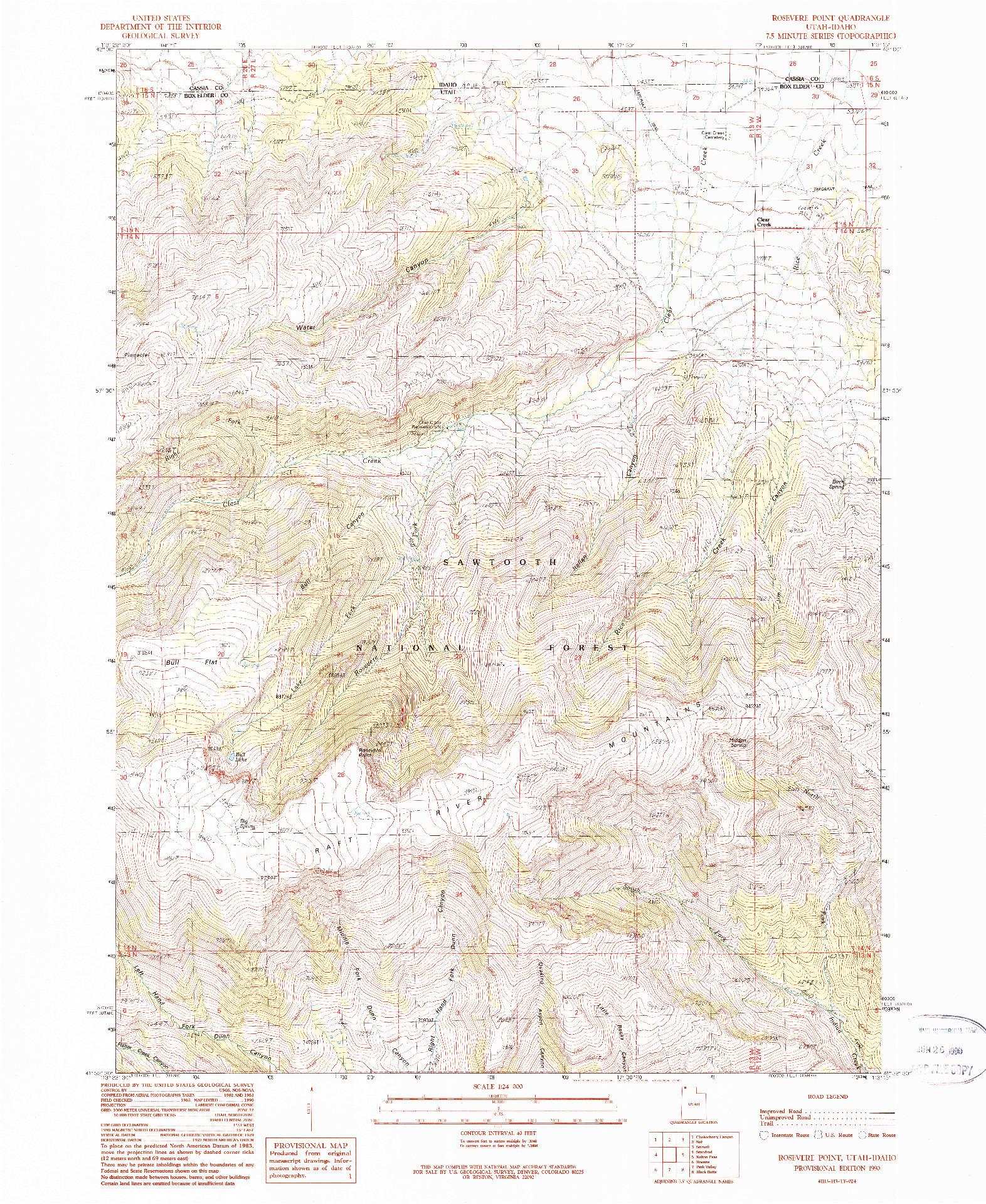 USGS 1:24000-SCALE QUADRANGLE FOR ROSEVERE POINT, UT 1990