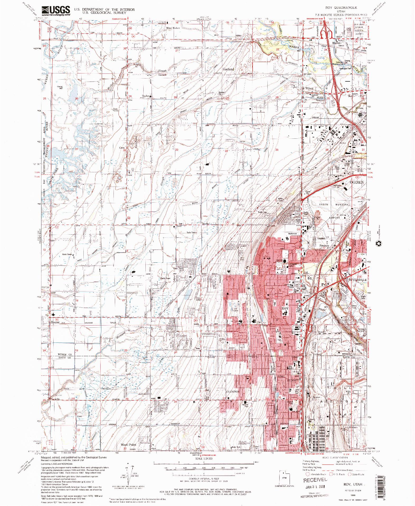 USGS 1:24000-SCALE QUADRANGLE FOR ROY, UT 1990