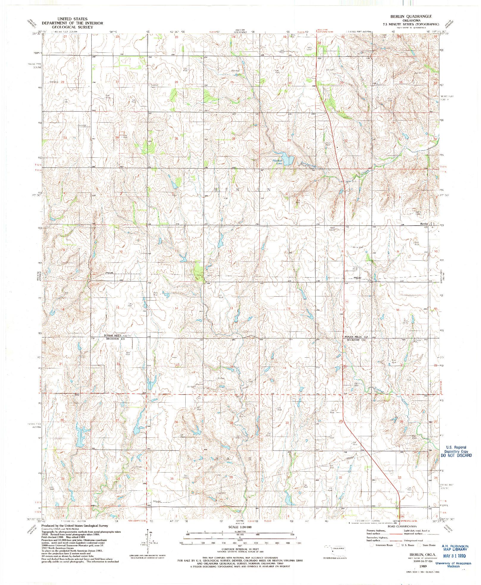 USGS 1:24000-SCALE QUADRANGLE FOR BERLIN, OK 1989