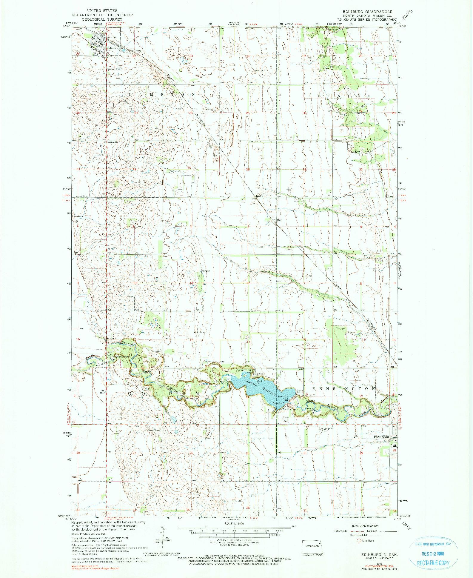 USGS 1:24000-SCALE QUADRANGLE FOR EDINBURG, ND 1963