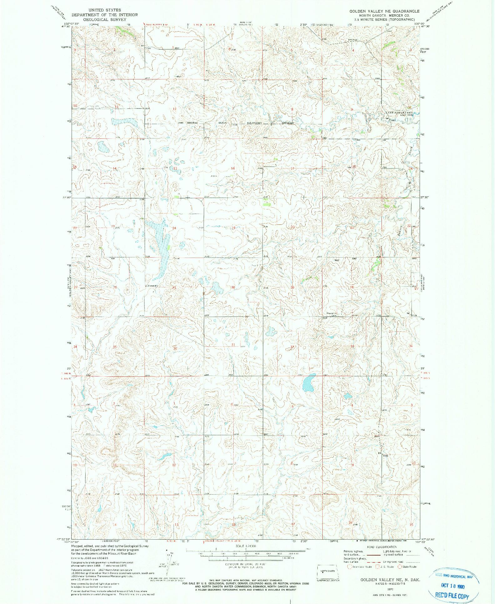 USGS 1:24000-SCALE QUADRANGLE FOR GOLDEN VALLEY NE, ND 1970