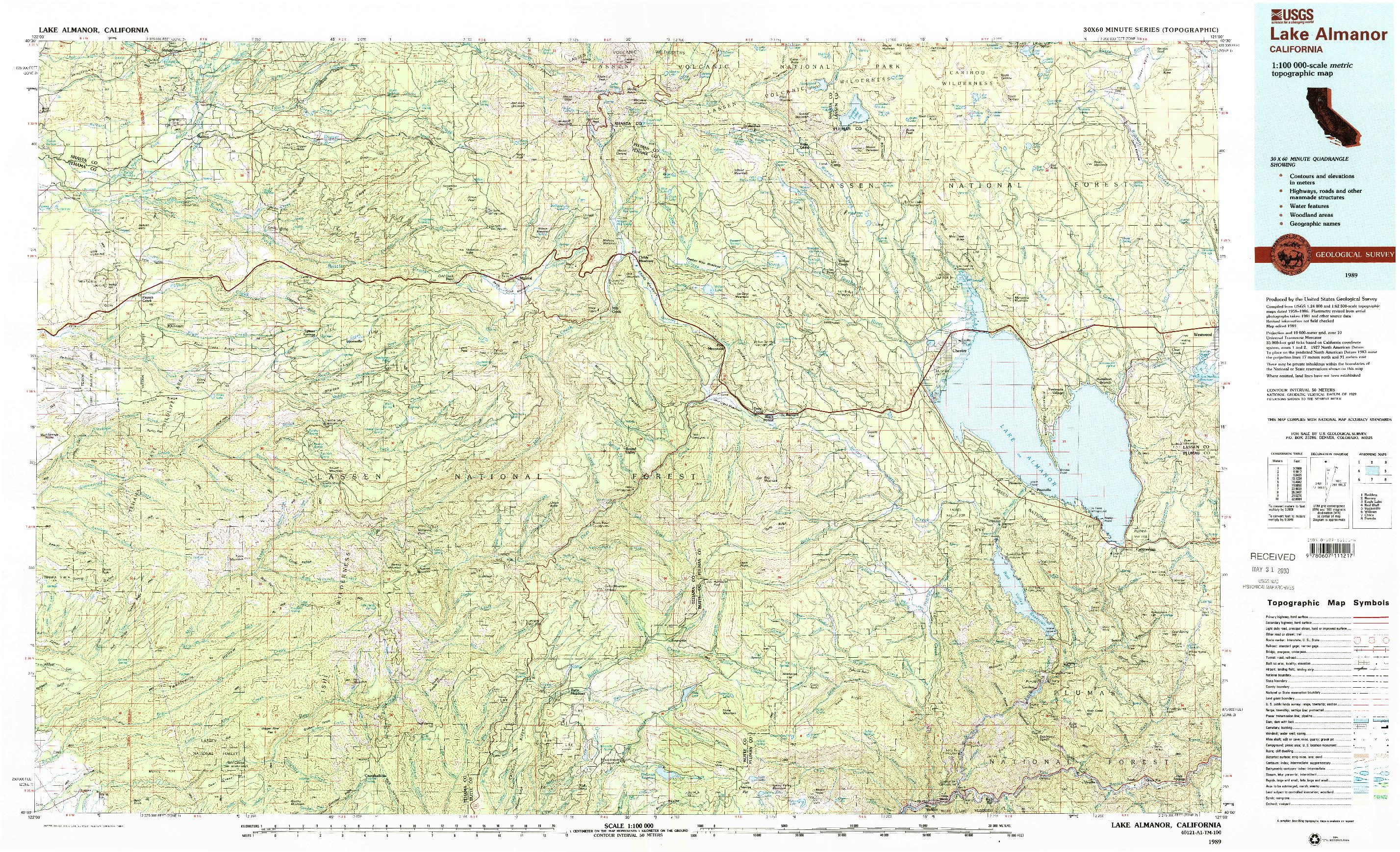 USGS 1:100000-SCALE QUADRANGLE FOR LAKE ALMANOR, CA 1989