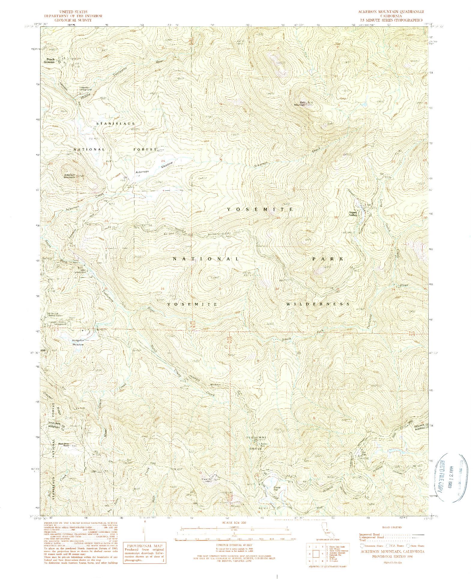 USGS 1:24000-SCALE QUADRANGLE FOR ACKERSON MOUNTAIN, CA 1990