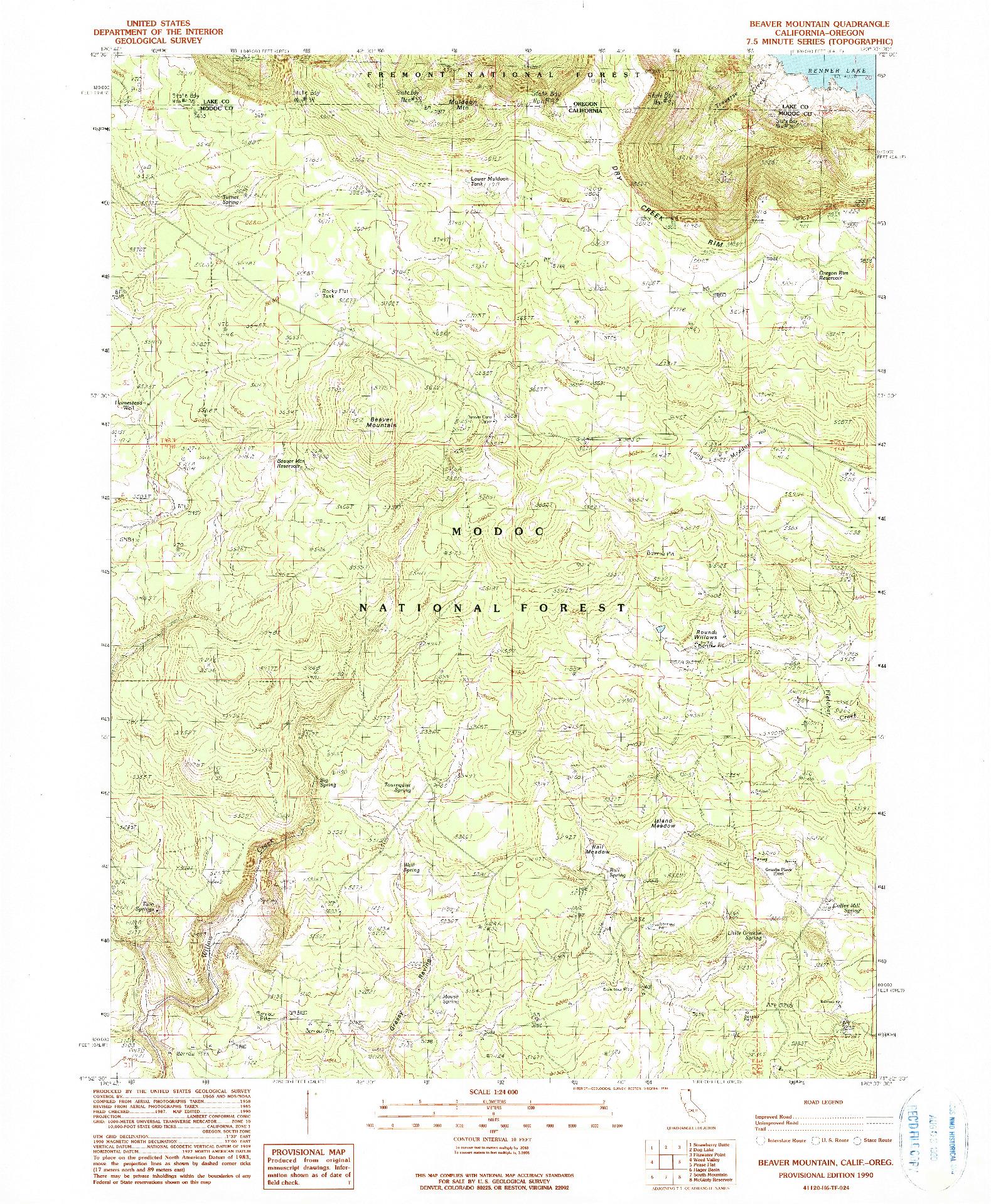 USGS 1:24000-SCALE QUADRANGLE FOR BEAVER MOUNTAIN, CA 1990