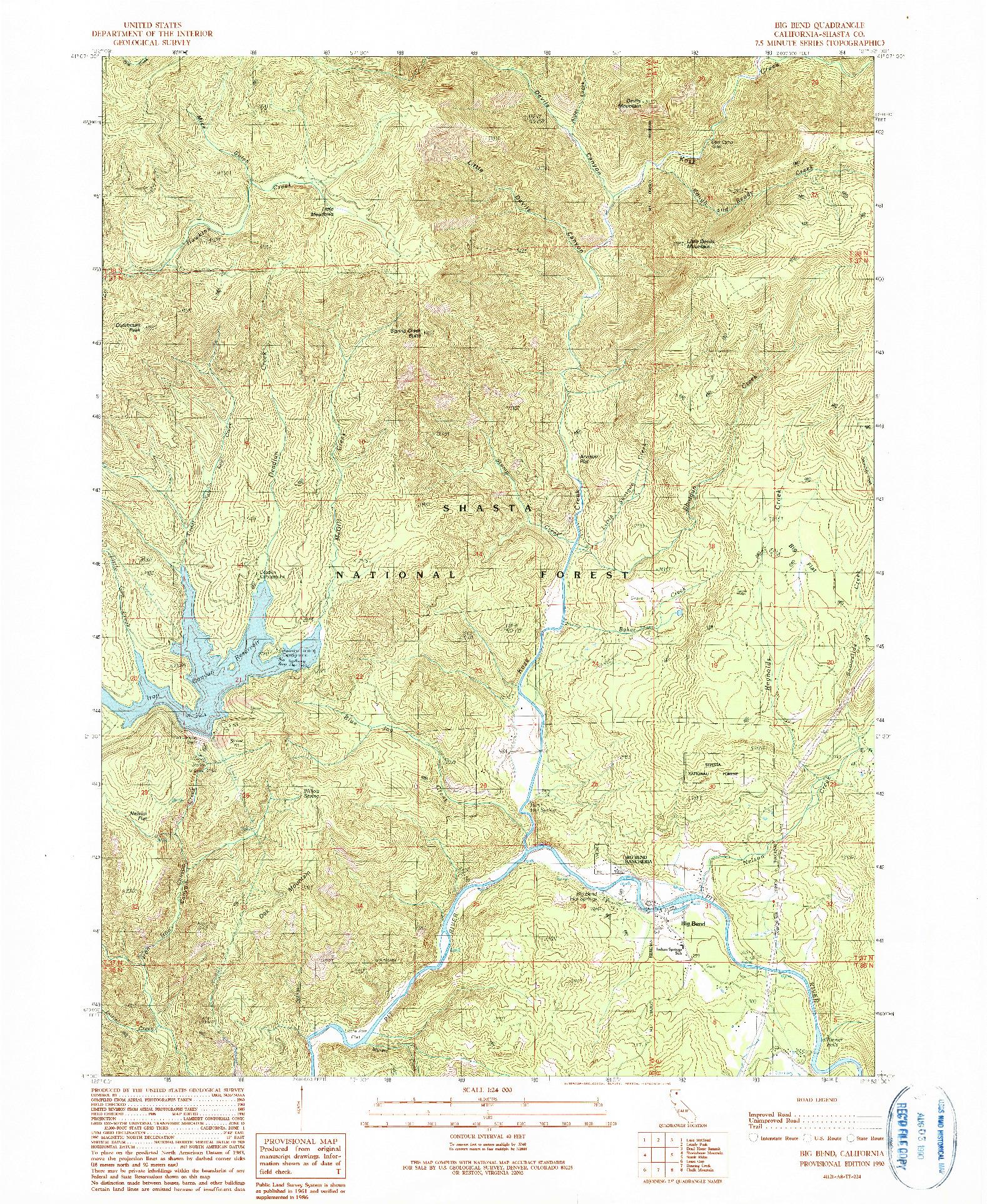 USGS 1:24000-SCALE QUADRANGLE FOR BIG BEND, CA 1990