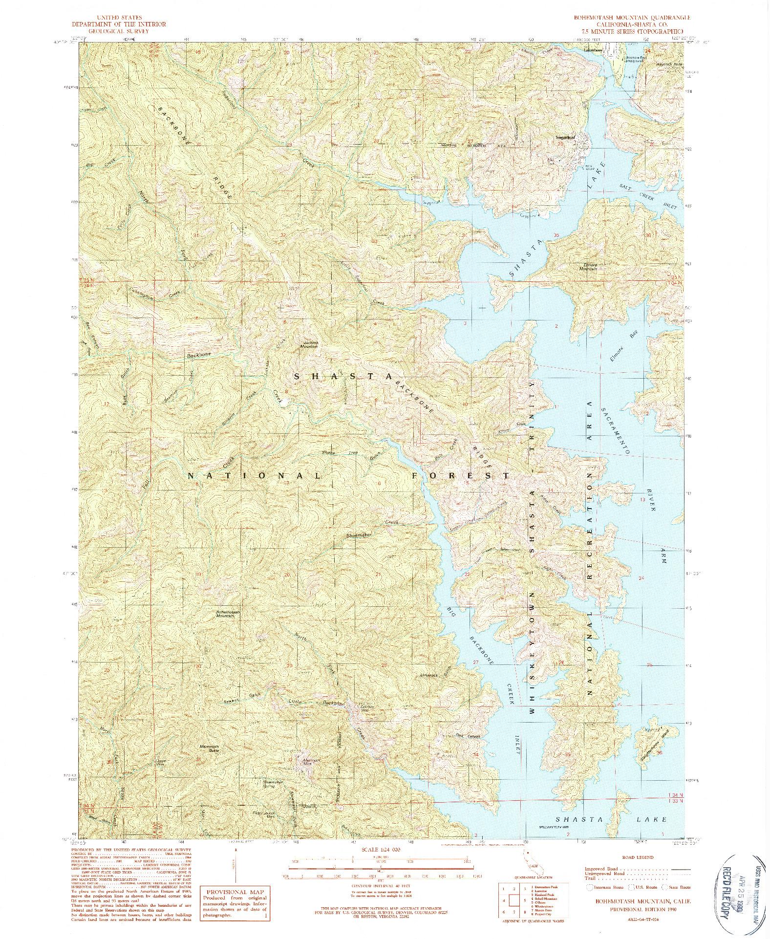 USGS 1:24000-SCALE QUADRANGLE FOR BOHEMOTASH MOUNTAIN, CA 1990