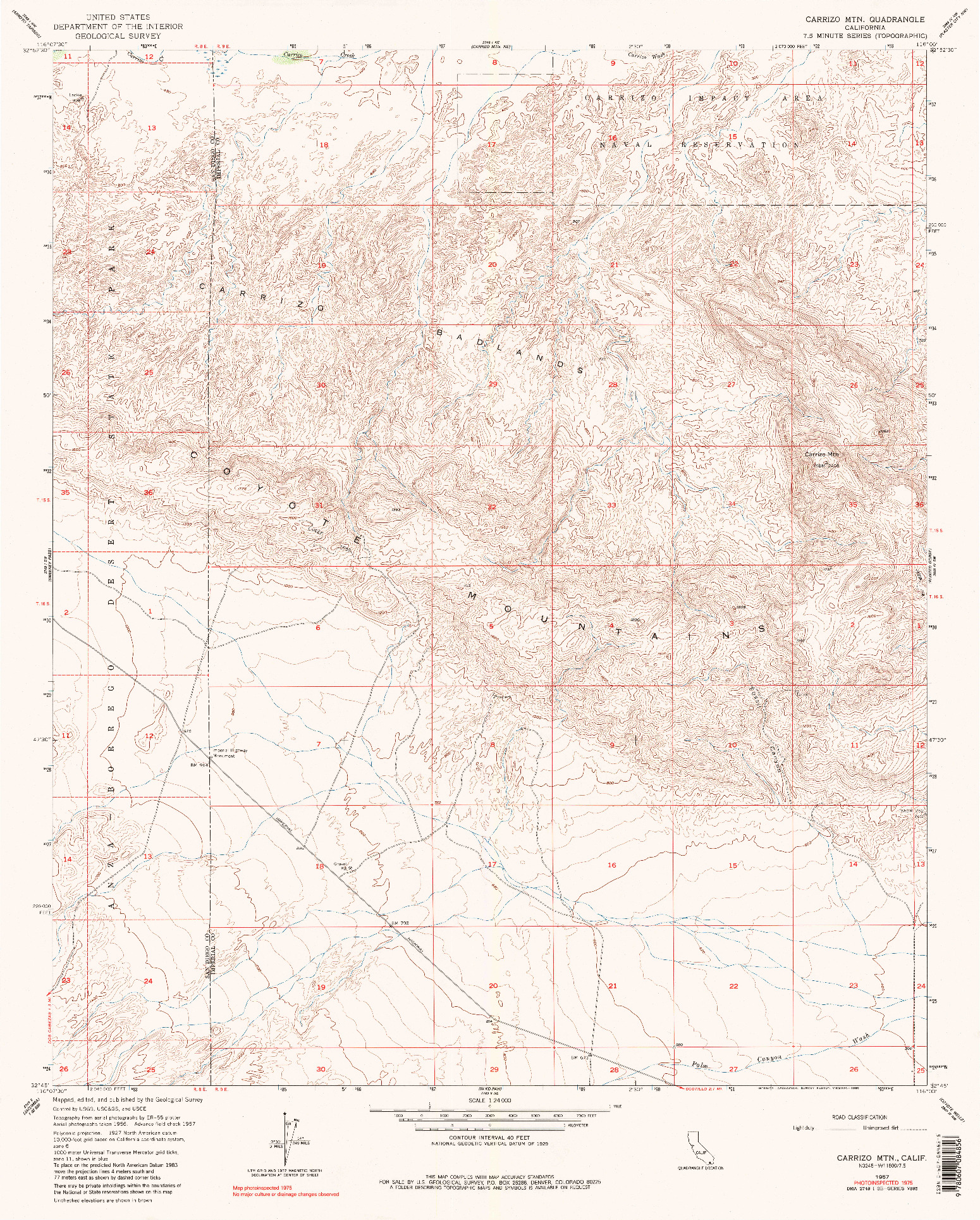 USGS 1:24000-SCALE QUADRANGLE FOR CARRIZO MTN, CA 1957
