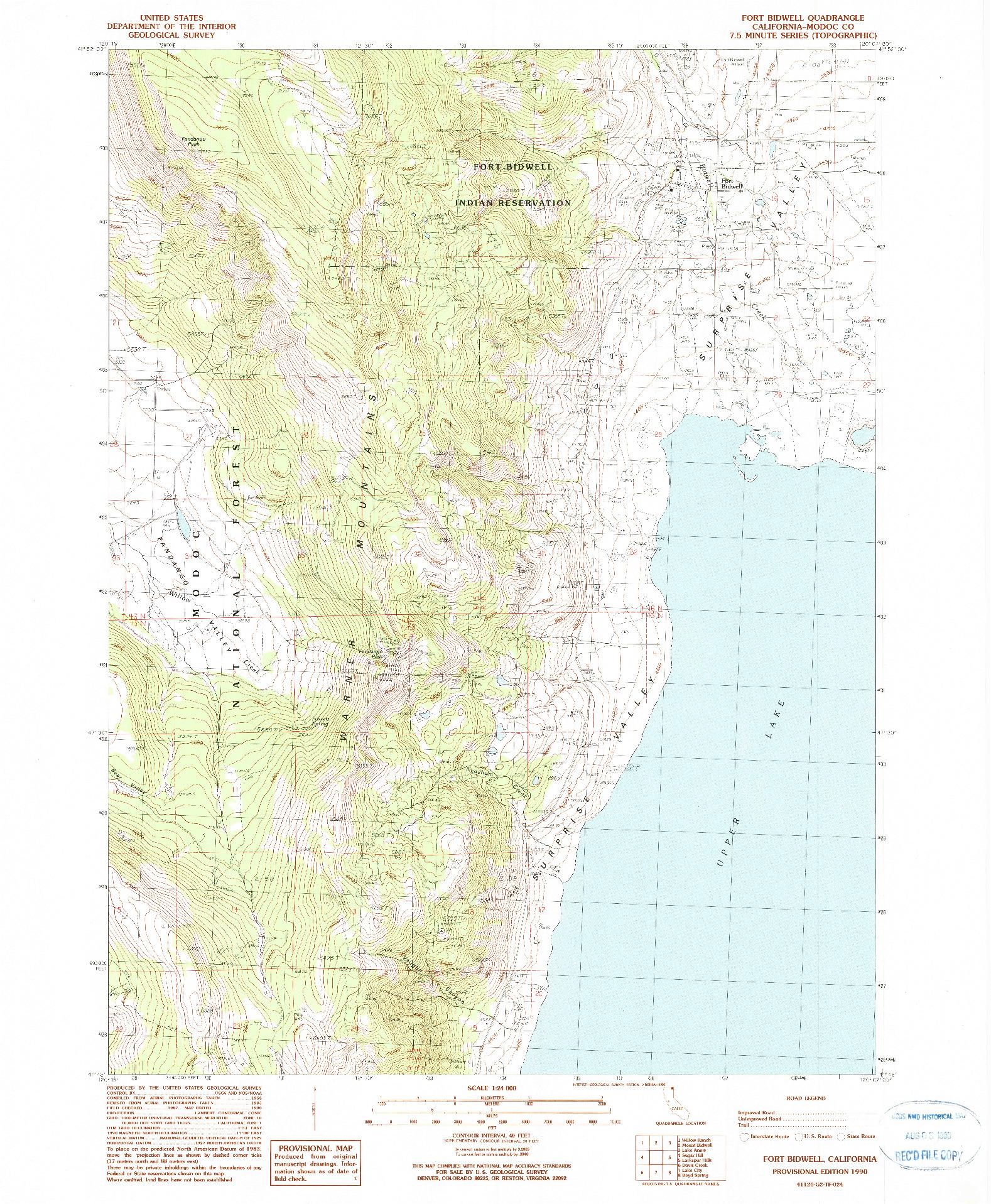 USGS 1:24000-SCALE QUADRANGLE FOR FORT BIDWELL, CA 1990